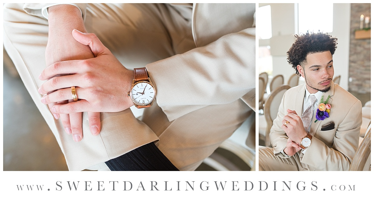 Goom's watch and details at boho inspired wedding at Pear Tree Estate, Champaign, IL