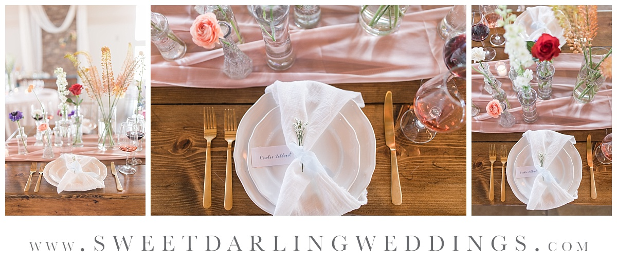 Custom wedding table settings for boho wedding at Pear Tree Estate, Champaign, IL