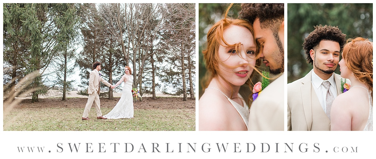 Outdoor bride and groom pictures at boho and wildflower inspired wedding at Pear Tree Estate, Champaign, IL