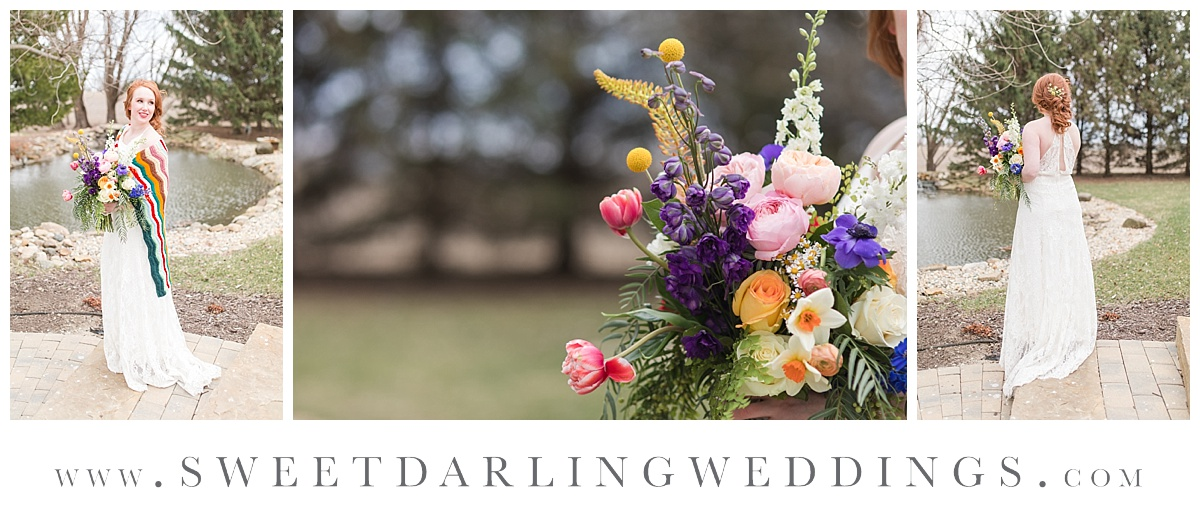 Boho inspired wildflower bouquet by A. Hunt Design at Pear Tree Estate in Champaign, IL