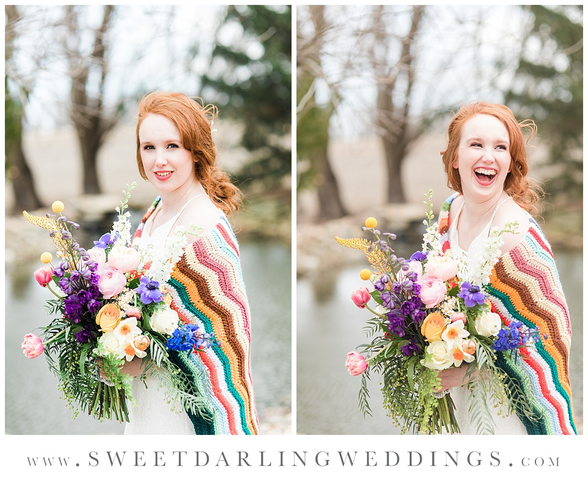 Boho bride with colorful afghan and wildflower bouquet at pear tree estate, Champaign, IL