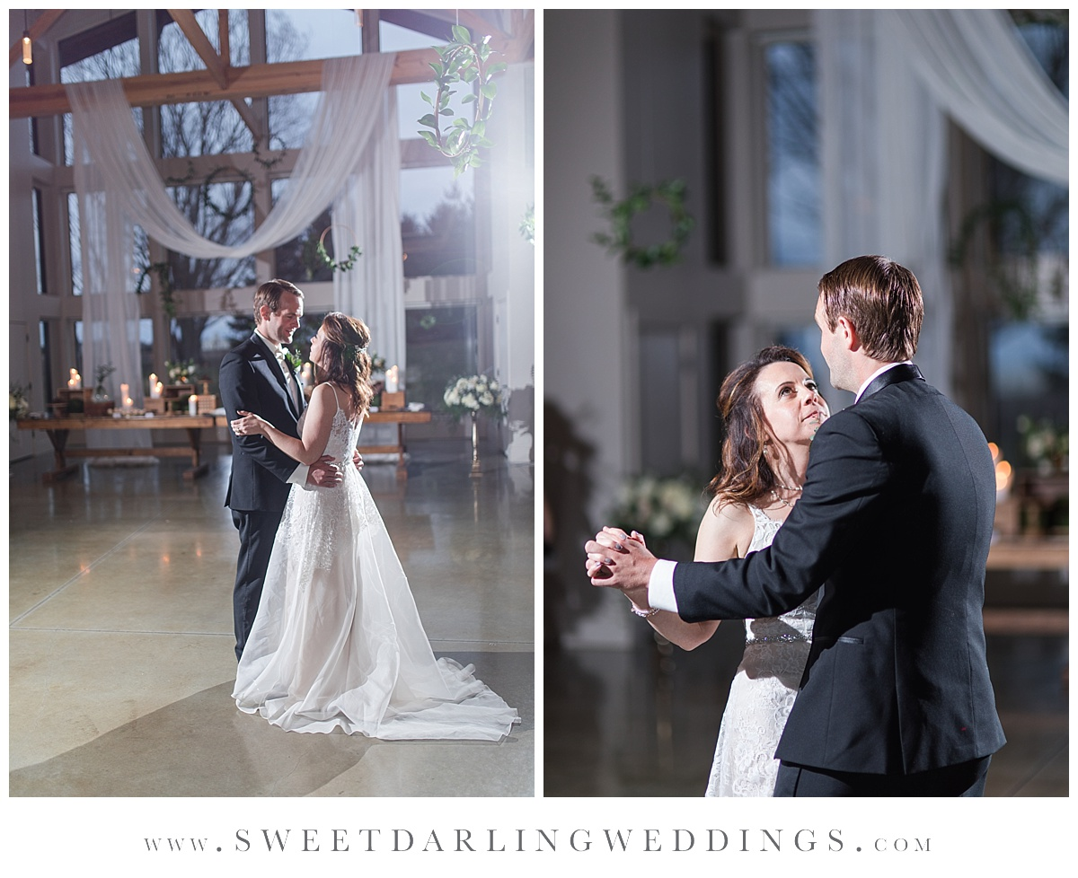 Bride and groom's first dance at Pear Tree Estate, champaign, IL