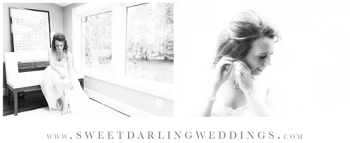 Bride getting ready in the Concorde Room at Pear Tree Estate