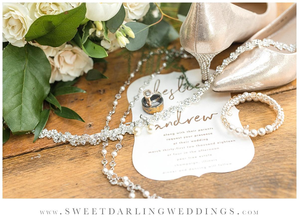 Bridal details at spring wedding at pear tree estate