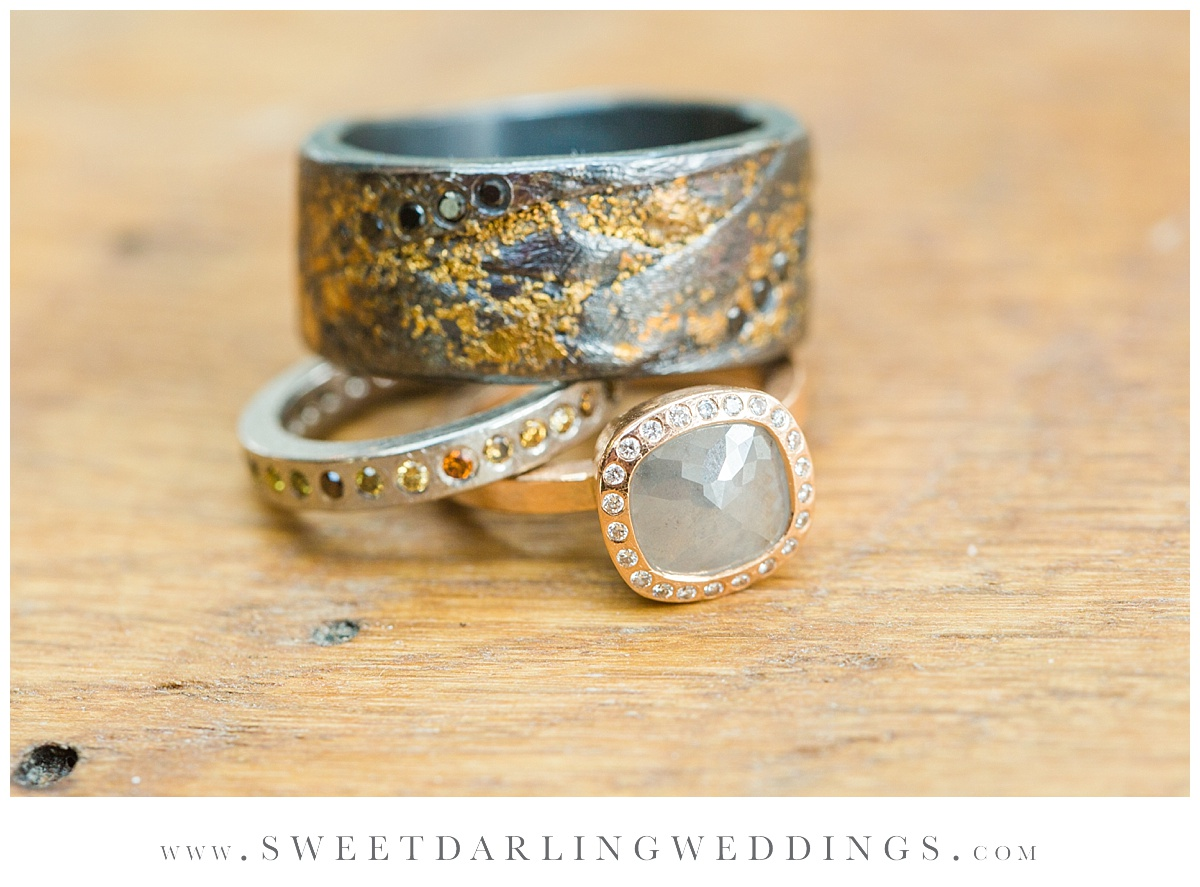 Grey diamond wedding ring at pear tree estate