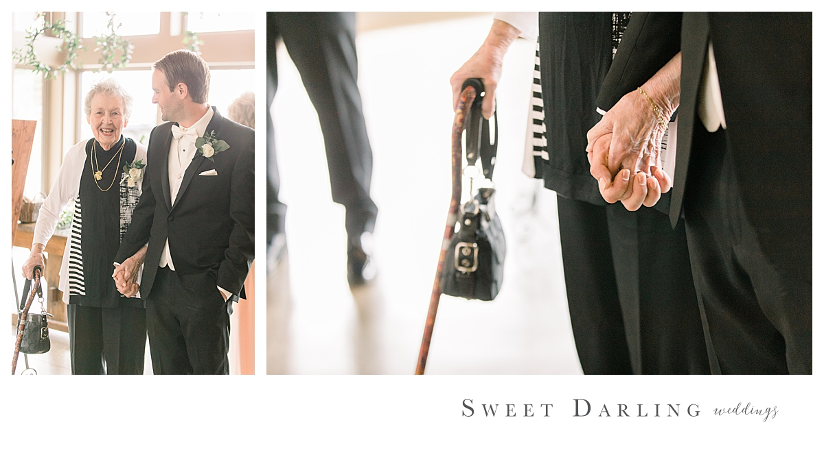 What a special moment between our groom Andrew and his grandma before he ushered her into her seat.  We're betting he held her hand like this when he was a little boy too.