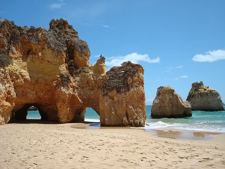 Beach Sea Rocks Coast Portugal Algarve