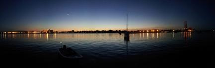 A nice panoramic of Salem harbor the night the boat was put in.