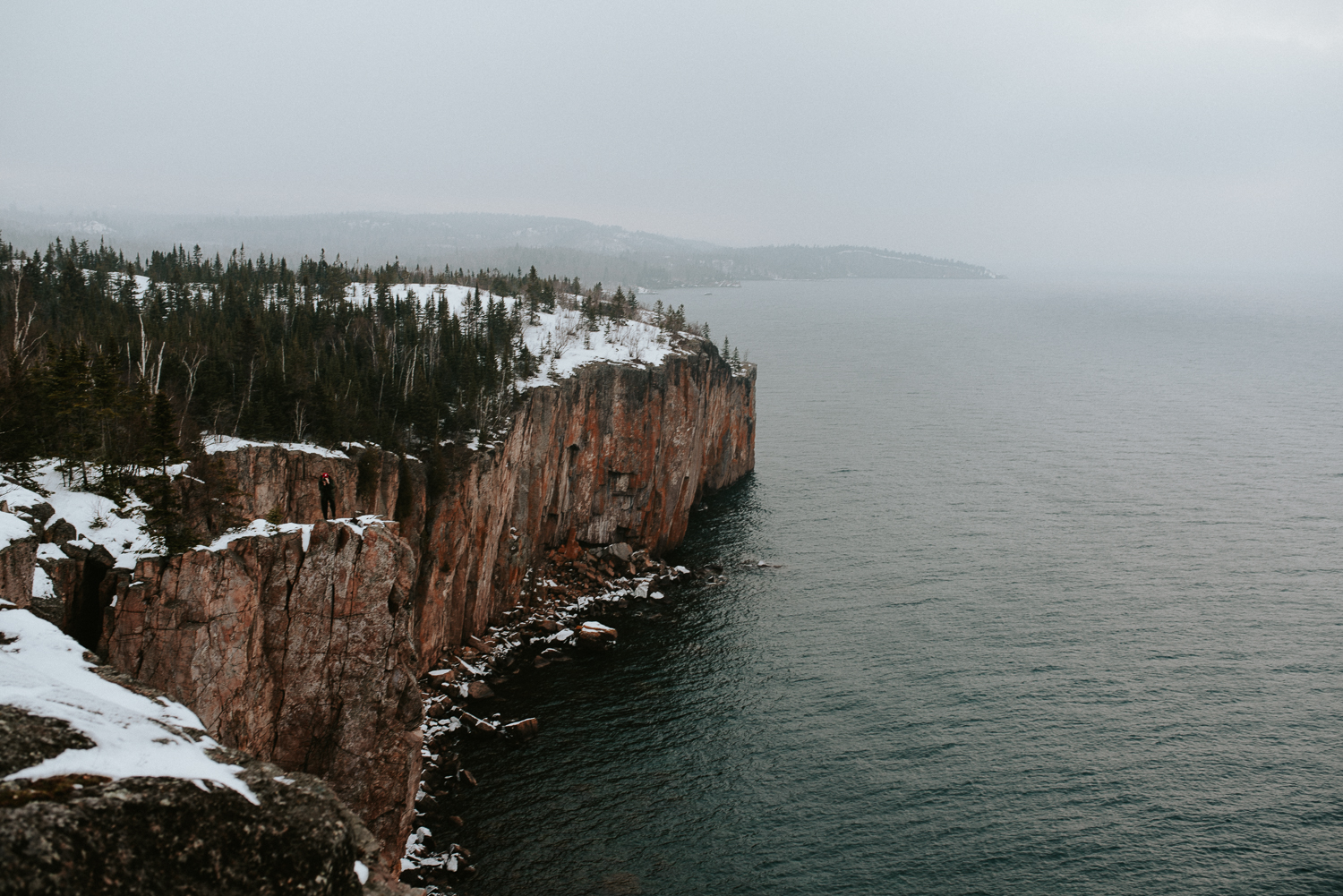A winter scene as seen from the top of Palisade Head in Two Harbors, Minnesota.
