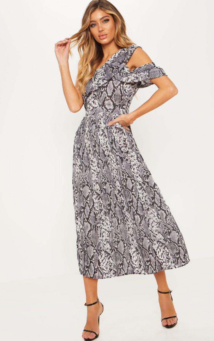Snake Pleated Midi Dress - £18