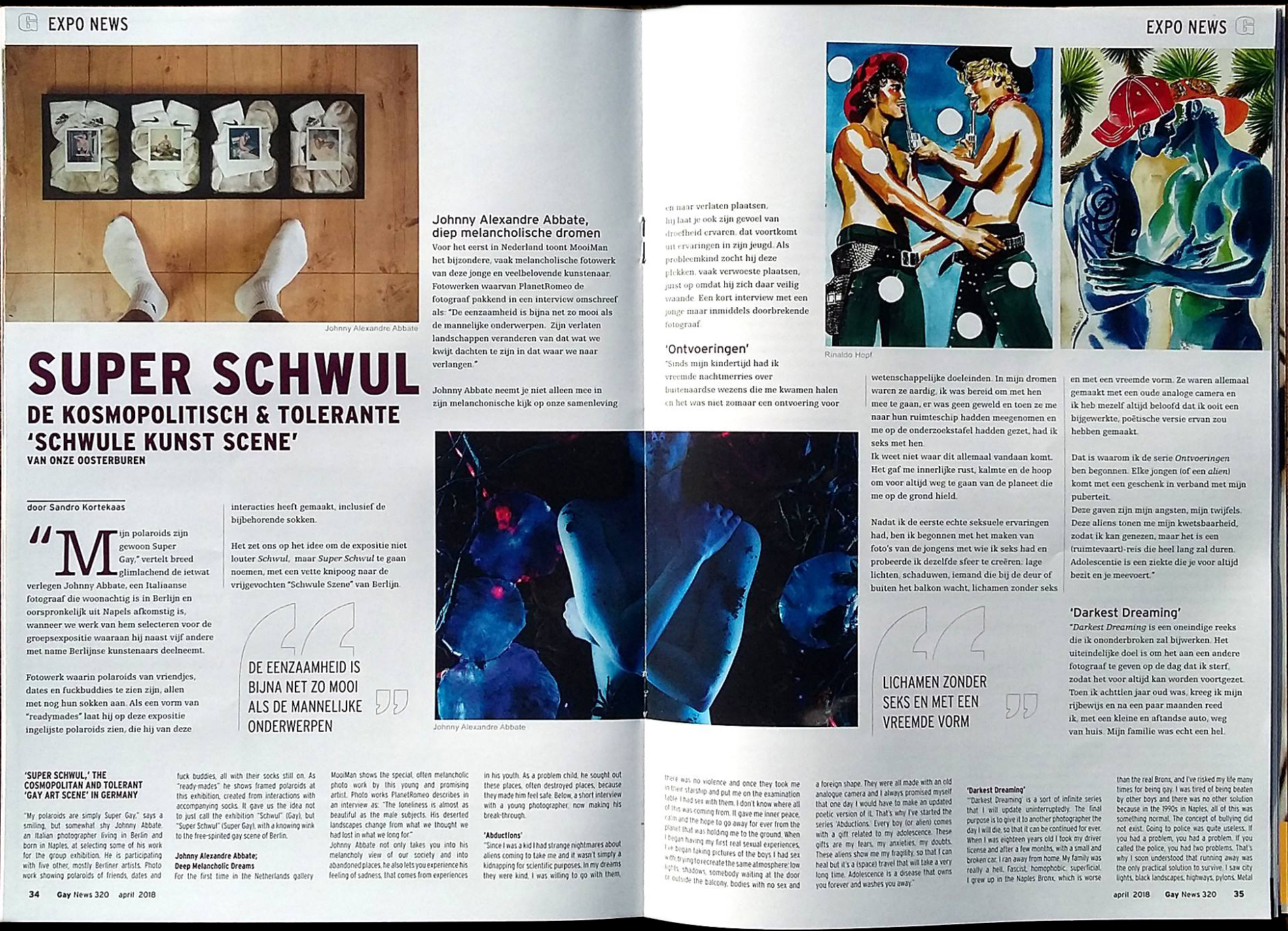 """Article for the exhibition """"Super Schwul"""" at MooiMan Gallery, Groningen, Netherlands. Issue 320, April 2018. http://www.gaynews.nl/"""