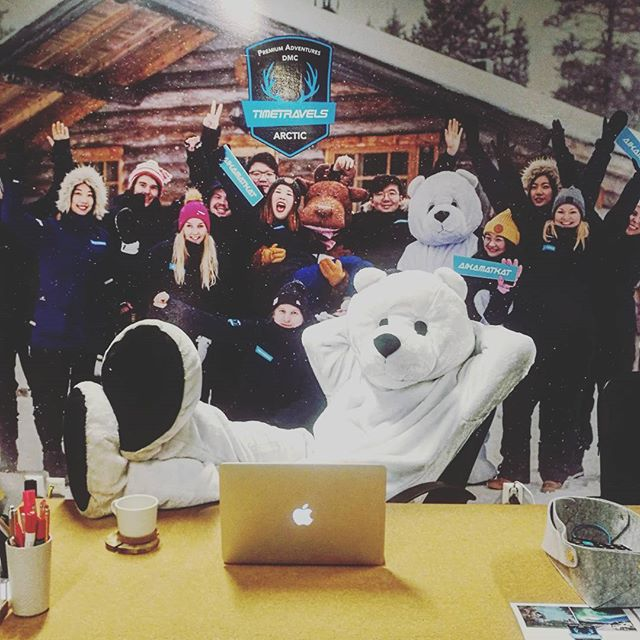 We have a special guest at the front desk today😉  #arctictimetravels #officelife #lapland #saariselkä