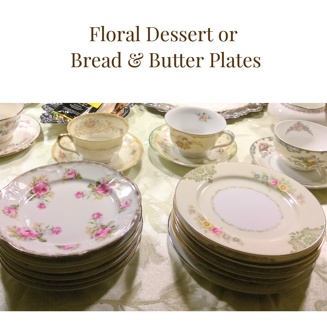 $0.90/plate  - Up to 150          -   Floral Dessert Plate ...    Rented by Delicate Dishes