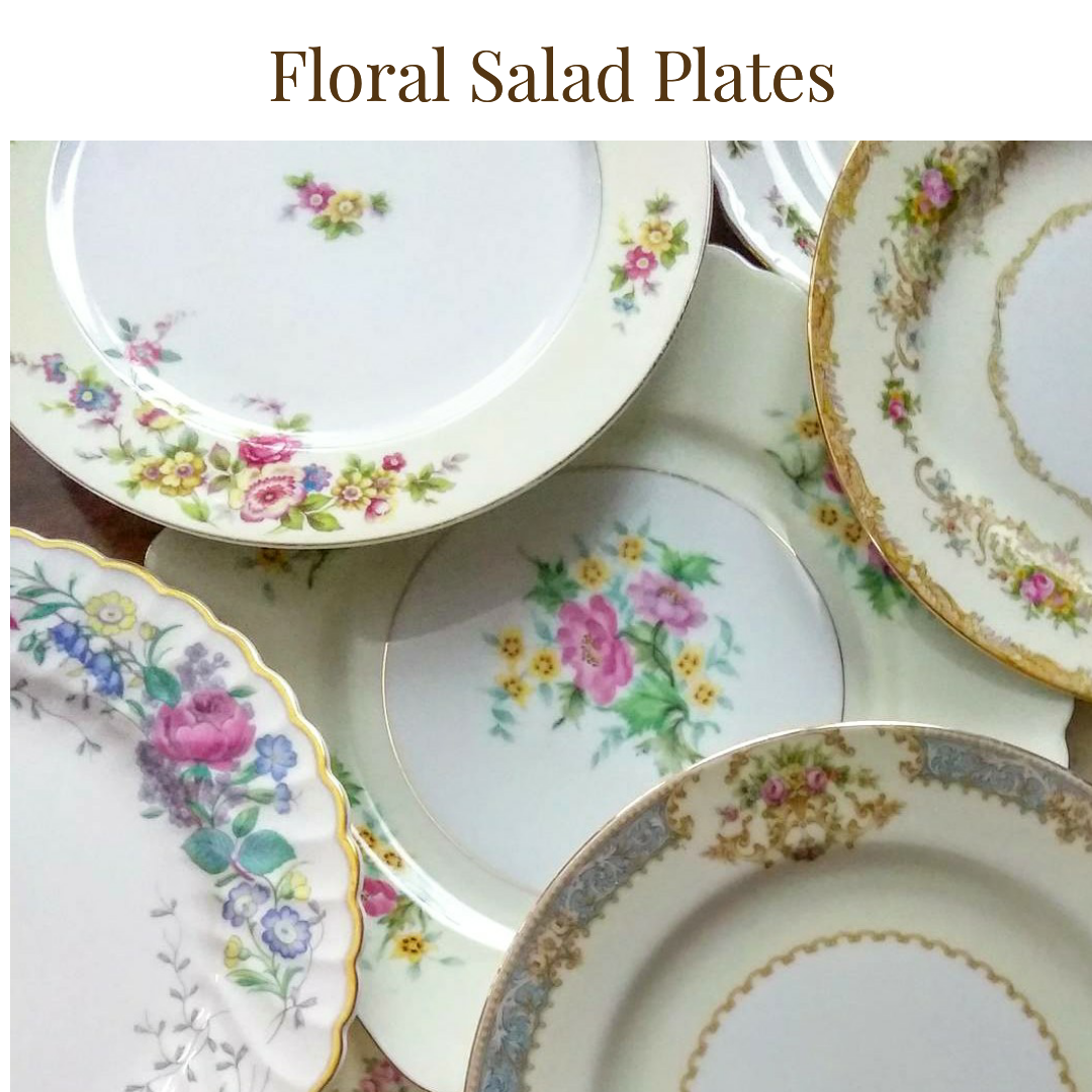 $1.25/plate  - Up to 150          -   Floral Salad Plate ...    Rented by Delicate Dishes