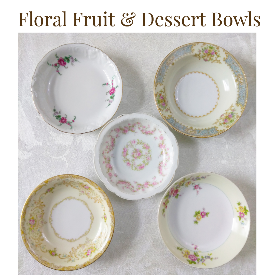 $0.75/bowl  - Up to 150          -   Floral Fruit or Dessert Bowl ...    Rented by Delicate Dishes