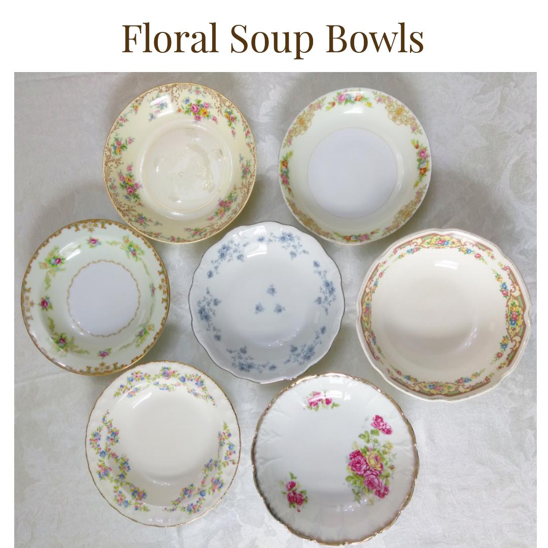 $1.00/bowl  - Up to 150          -   Floral Soup or Salad Bowl ...    Rented by Delicate Dishes