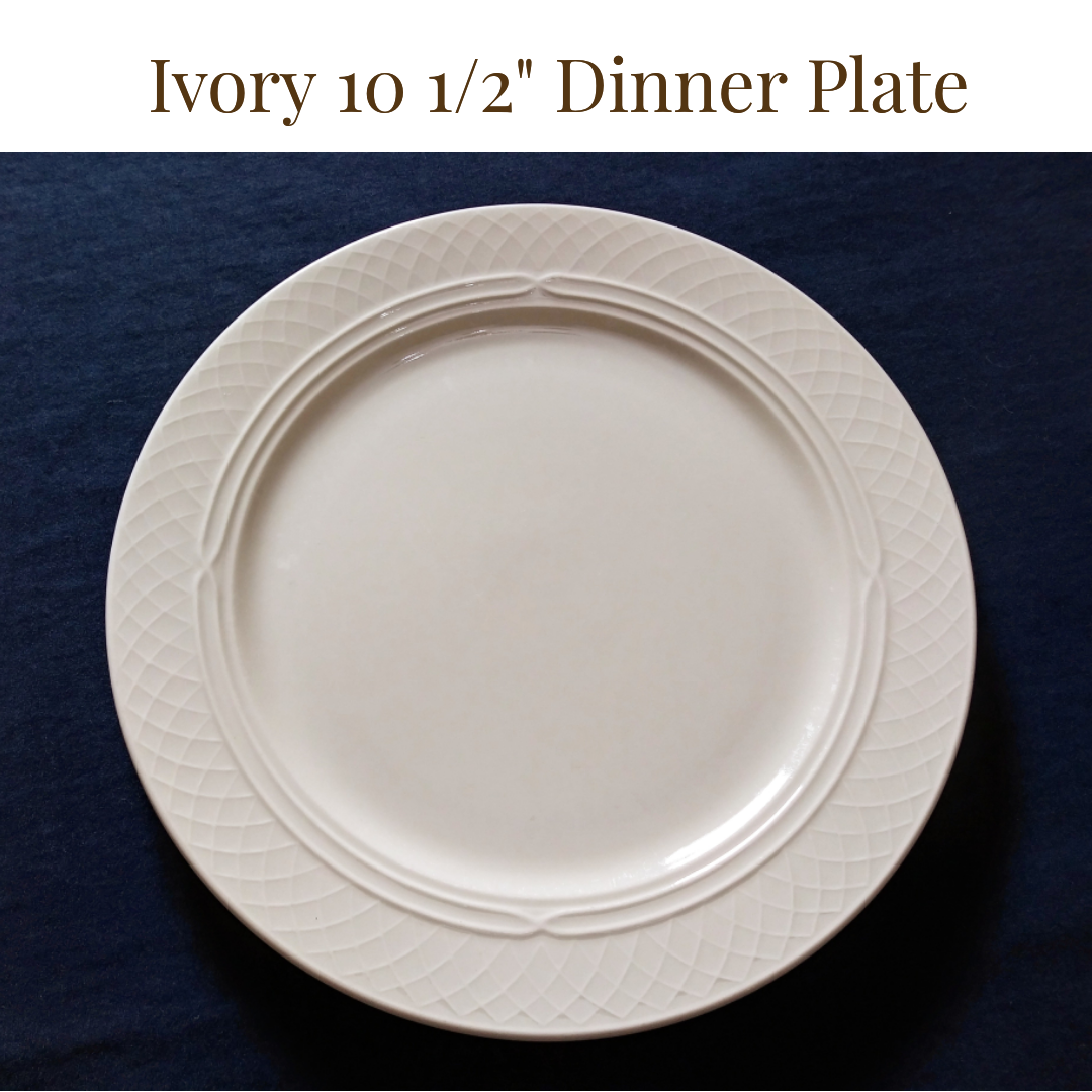 $1.25/plate  - Up to 150          -   Ivory Dinner Plate ...    Rented by Delicate Dishes