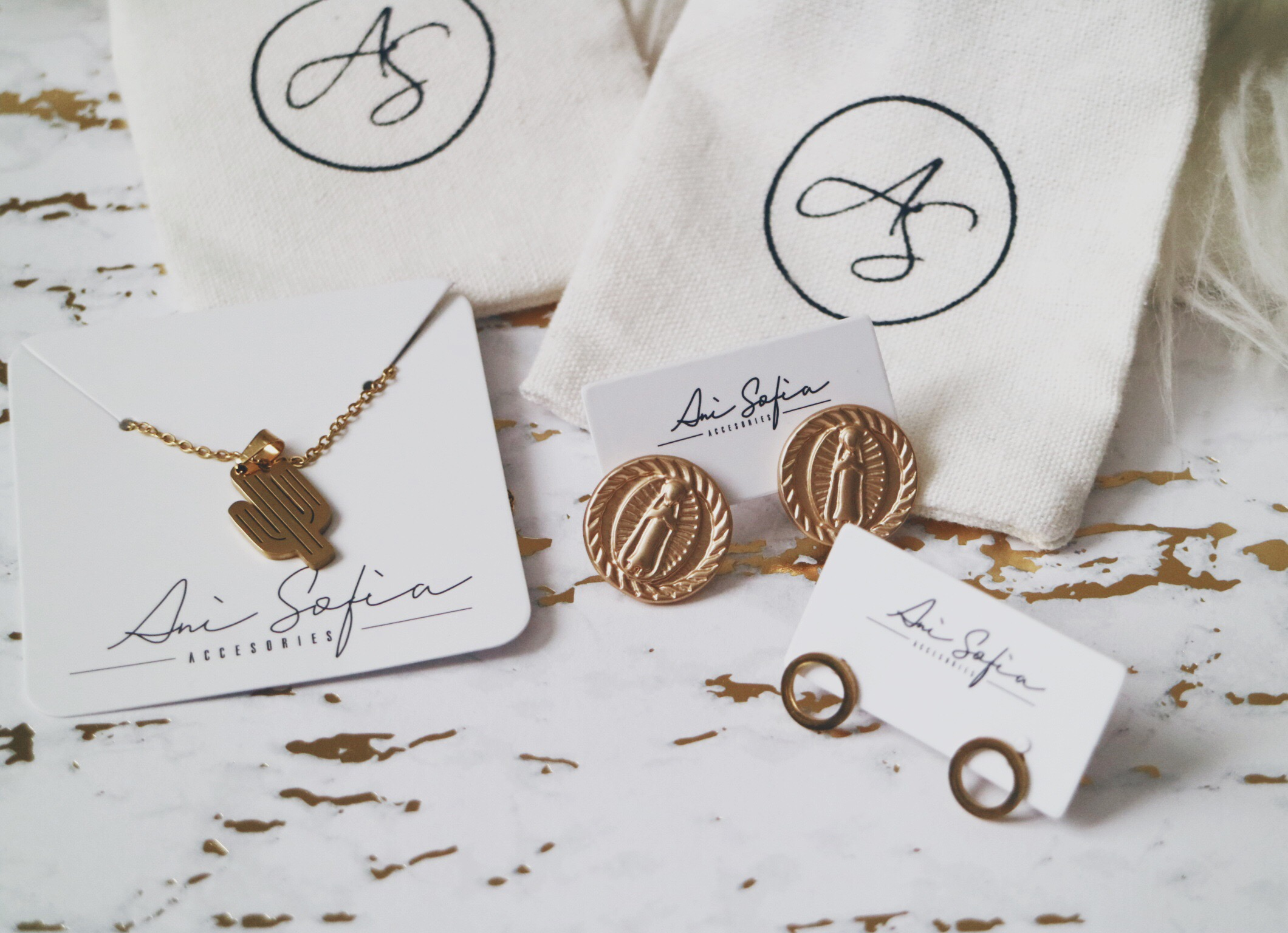 Cactus Necklace, Matte Gold Religious Coin Stud Earrings and Minimalist Circular Stud Earrings