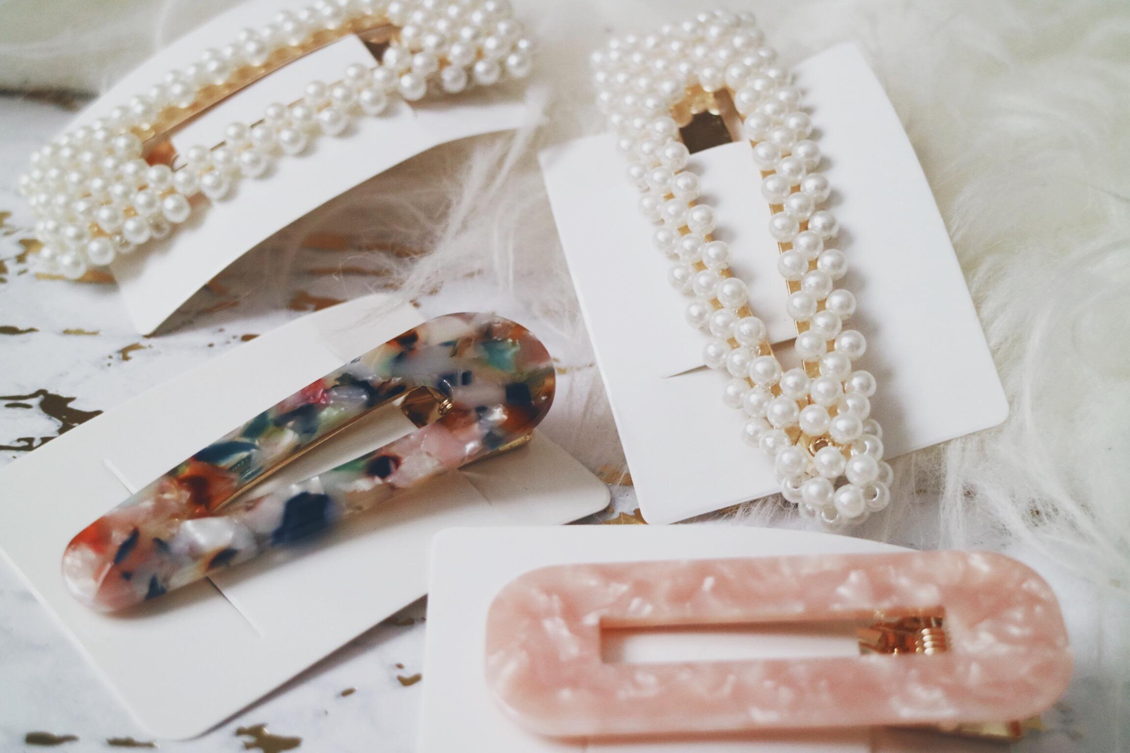 Faux Pearl Hair Barrette, Multicolored Resin Hair Barrette and Pink Resin Hair Barrette