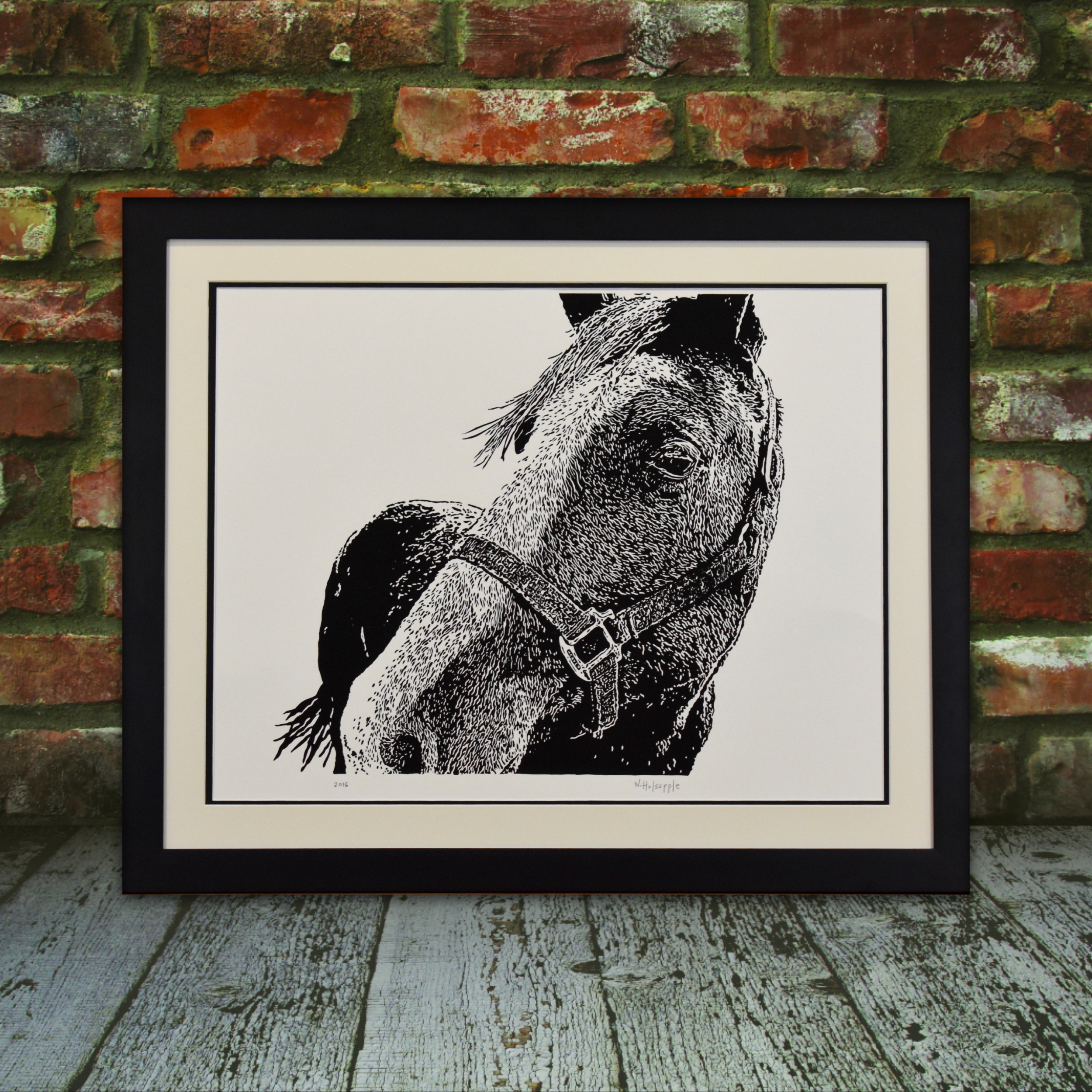 Original Horse Linocut Art Print