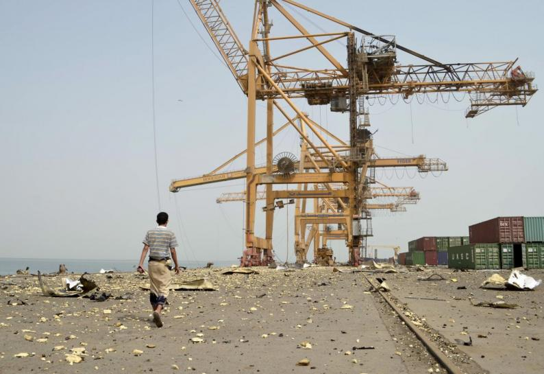 Cranes in the port of Hodeida (Photo courtesy of Reuters)