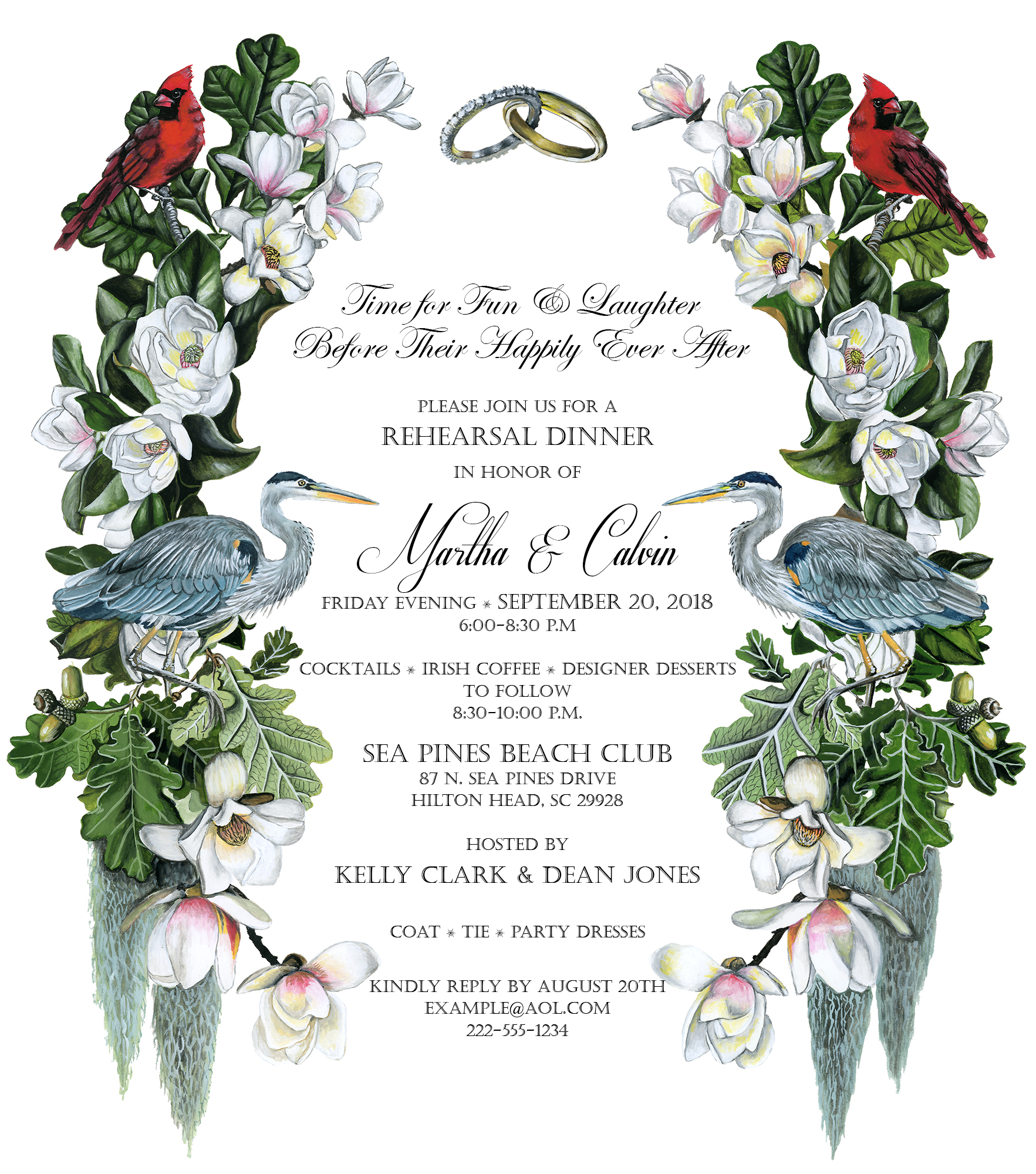 South Carolina Rehearsal Dinner Custom Invitation