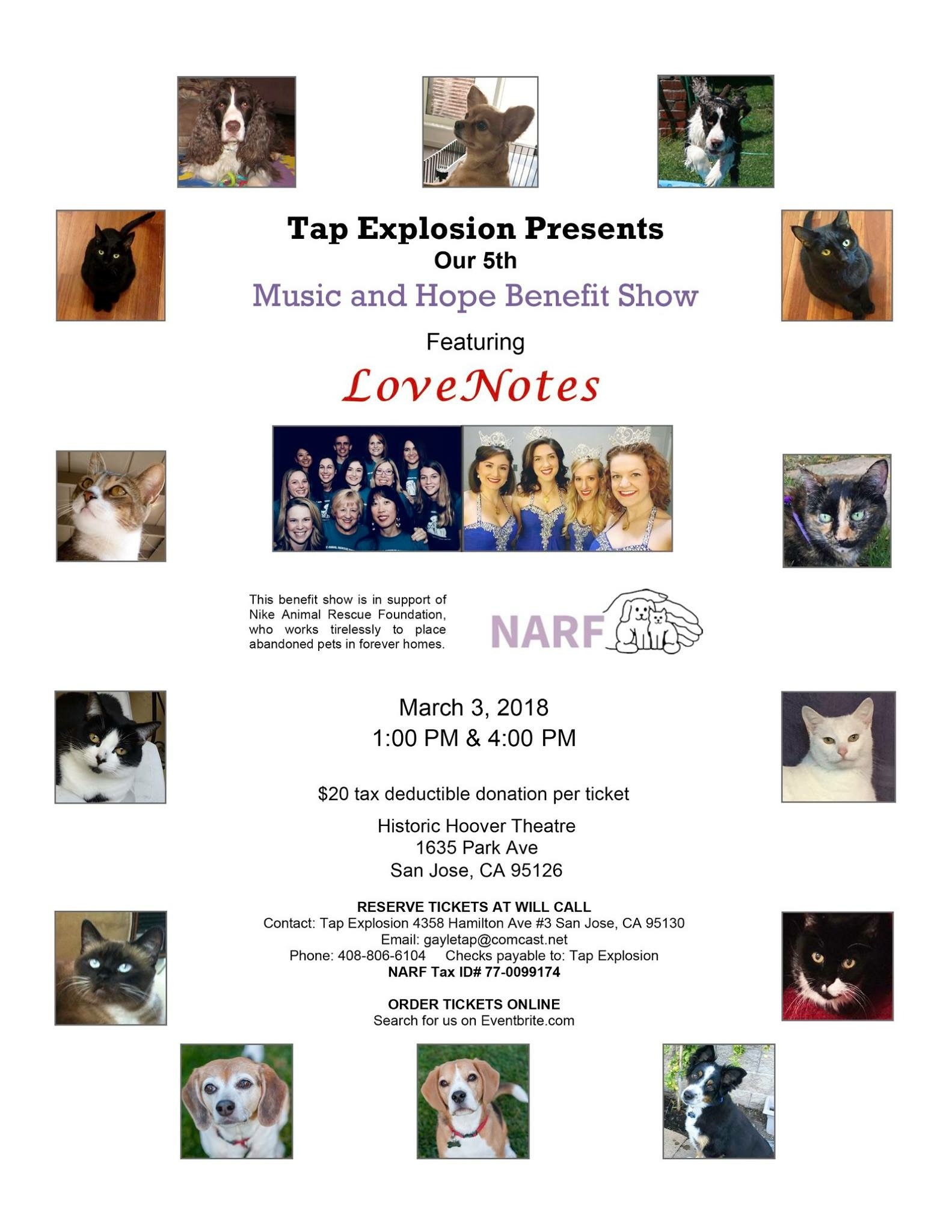 Music and Hope Benefit Show - Tap Explosion's 5th annual Music and Hope Benefit Show will feature performances from Tap Explosion, Roundhill Studios, and LoveNotes. This year's benefit show is in support of Nike Animal Rescue Foundation.