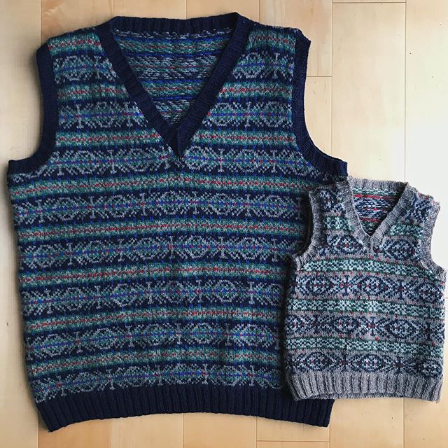 More on the sweater vests, because I knit them in 2015, so in Instagram years, that's like a lifetime! 🔹  Joe's sweater vest was knit first, and it was a surprise. It was back in the days when I was working full time so I would hide it in my car and work on it during conference calls and downtime. There were a few times I remember smuggling it into the house and stashing it under the couch when I heard him coming 🥴. It was the first project I ever steeked, which was a little intimidating considering the sheer size/time of the project, but the fingering weight yarn made it a breeze for cutting ✂️. 🔹  The smaller vest I knit for Sam that Christmas so the boys could match. I used the same stitch patterns and similar colors, but in different orders. The yarn is all @knit_picks palette yarn. It's a yarn that I like to keep in a variety of colors on the shelf for when I need to swatch up a colorwork design.