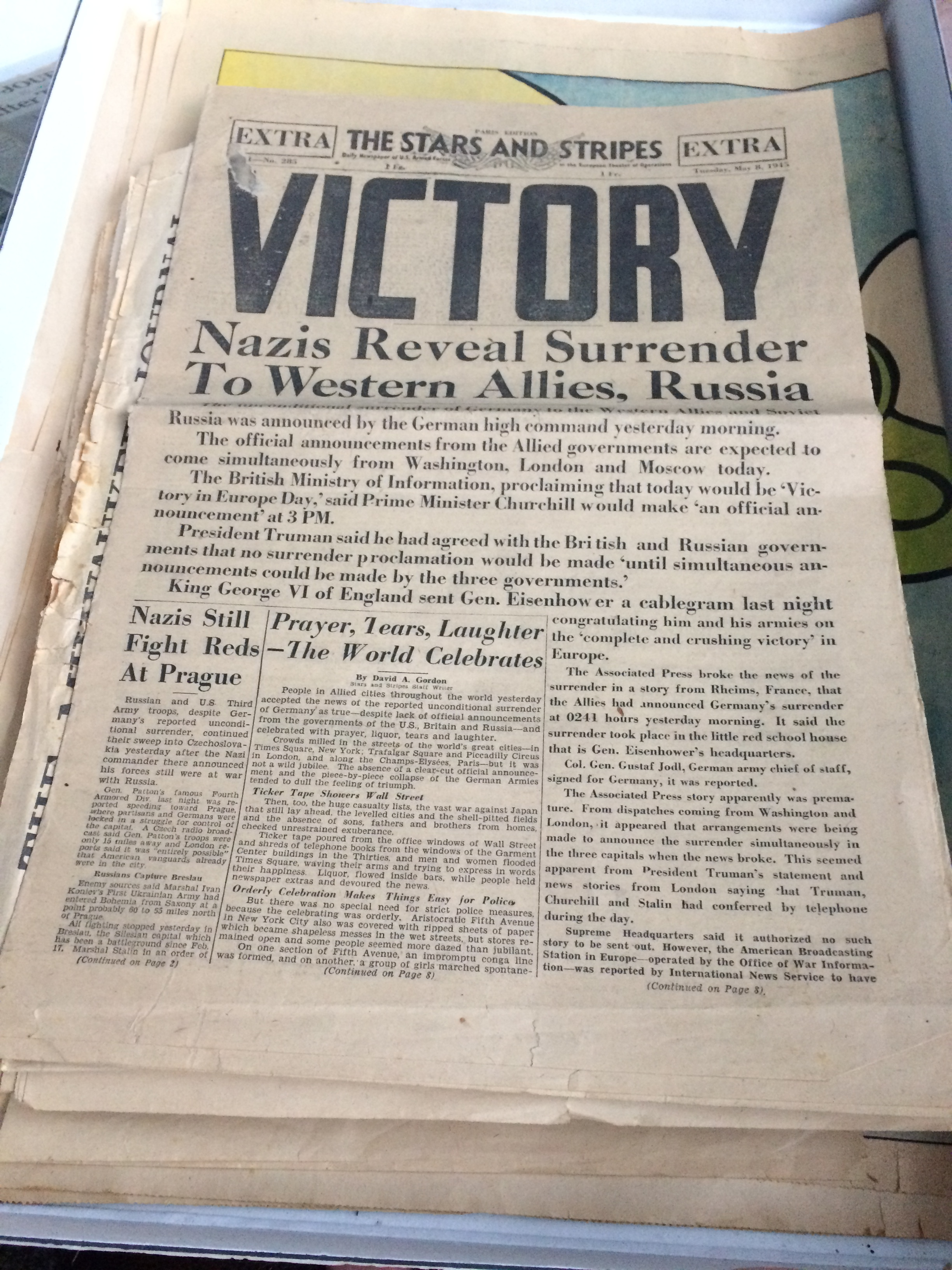 Newspaper from VE Day
