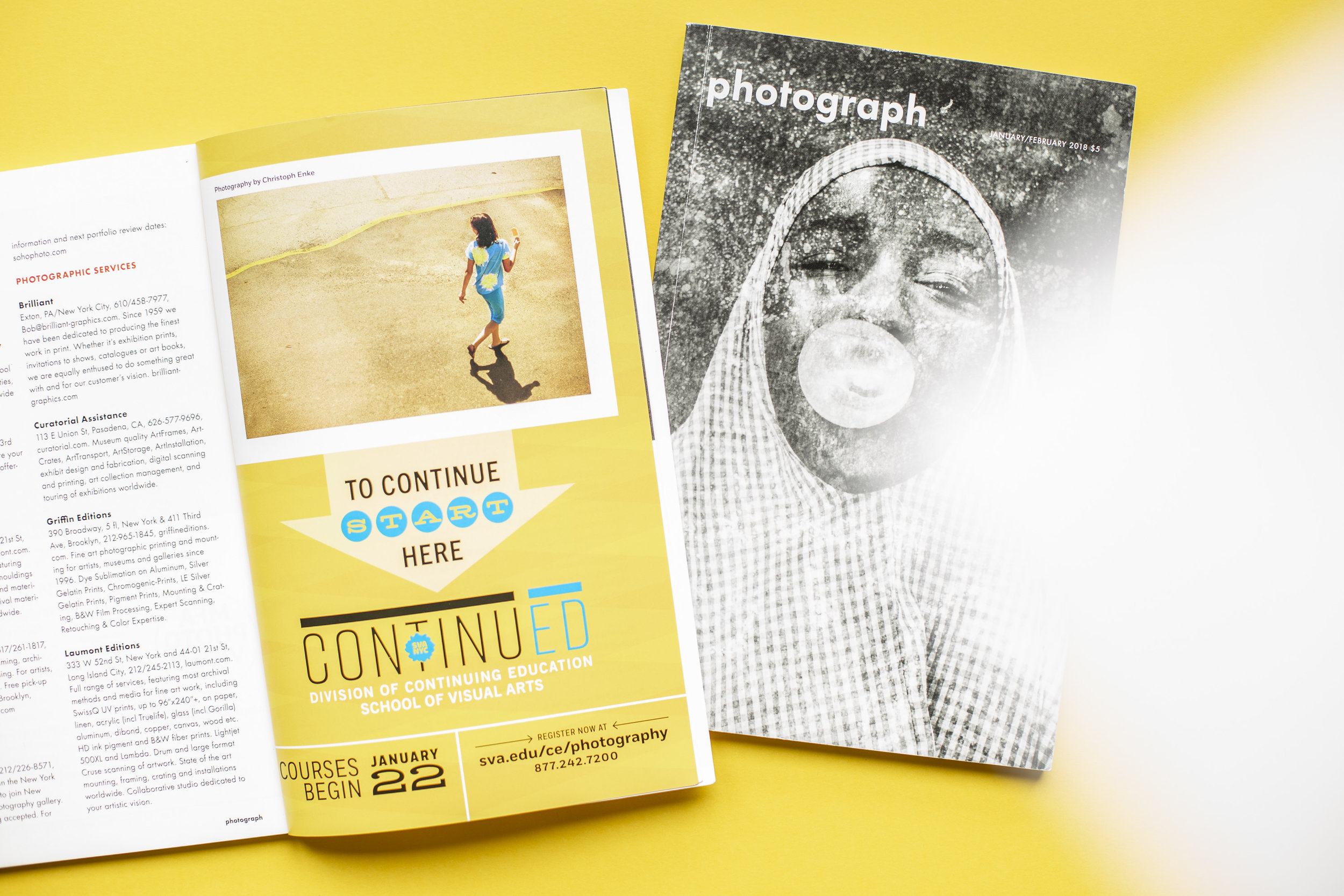 Werbung für  School of Visual Arts  NYC /  PHOTOGRAPH  Magazine  (USA)