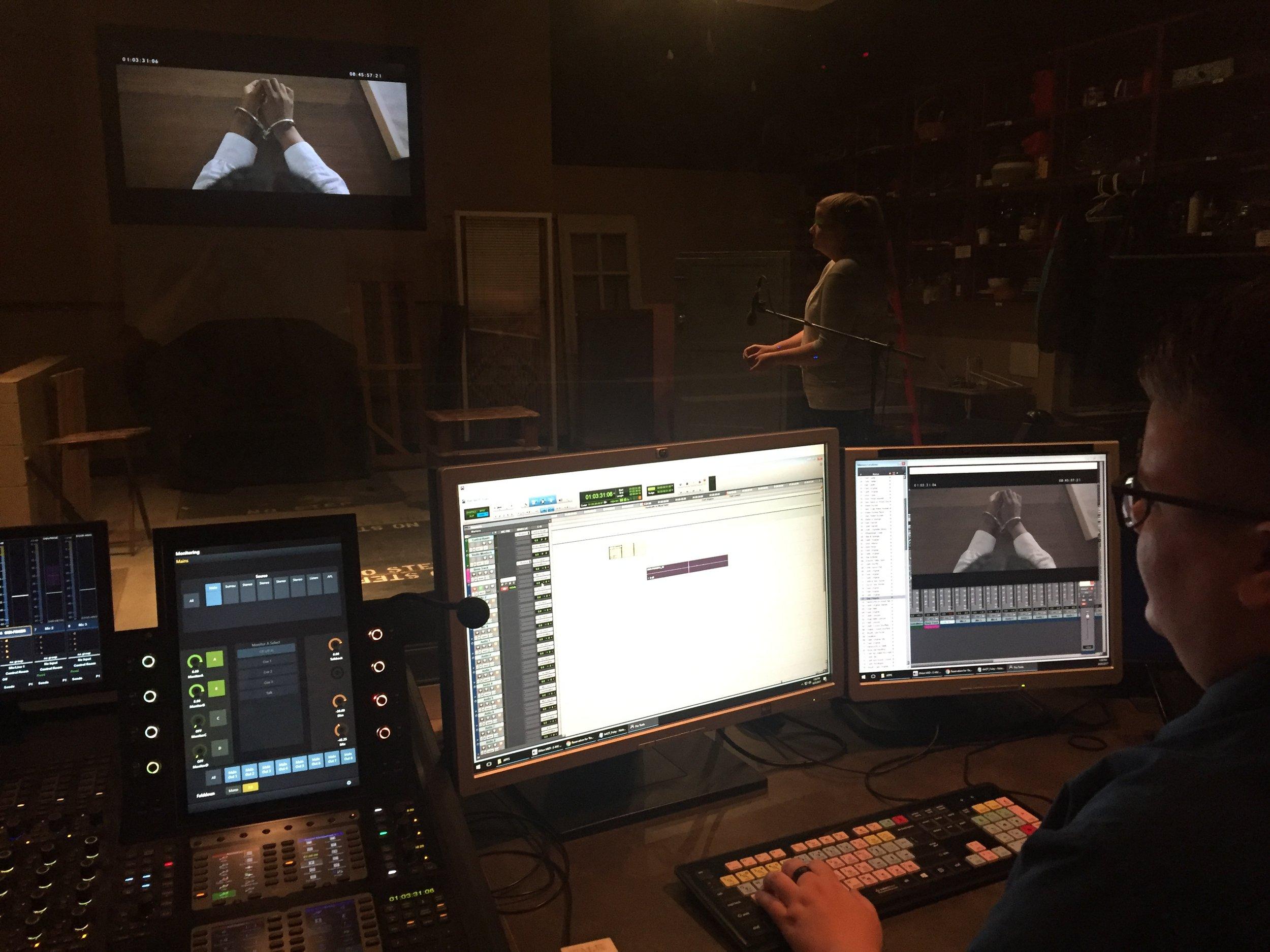 Foley Artist Chandler Freelander and Foley Mixer Rachel Basset recording at Dodge College
