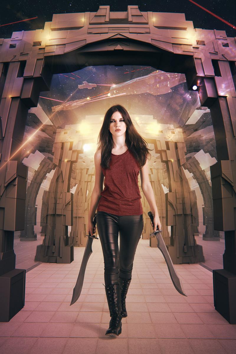 Badass Woman Walking Down an Epic Space Corridor