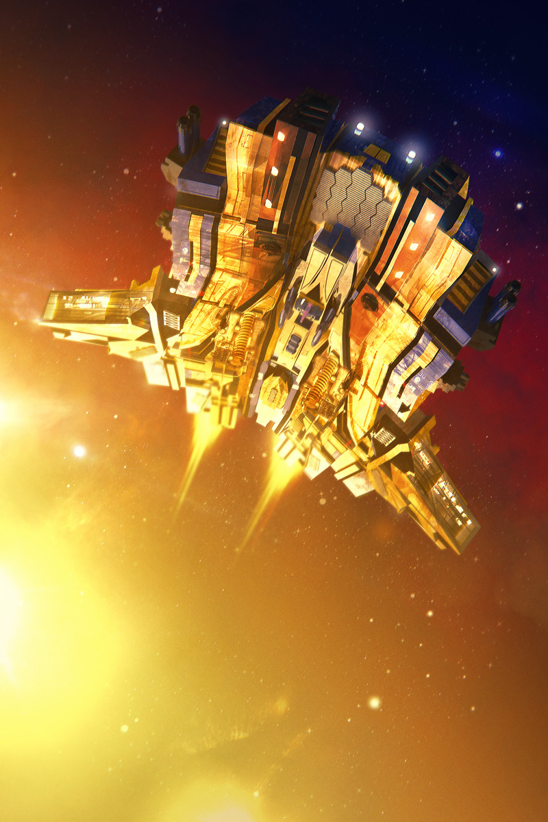 Spaceship Fighter Flying Triumphantly Away From the Sun (This piece is used in a tutorial, but can still be cover exclusive.)