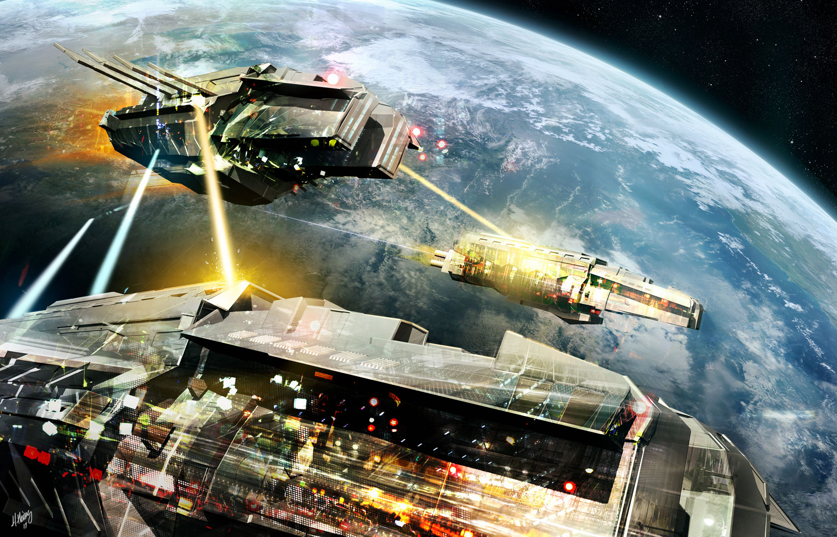 Space Battle! (I have used this in numerous banners for social media accounts—but never on a book or album cover!)