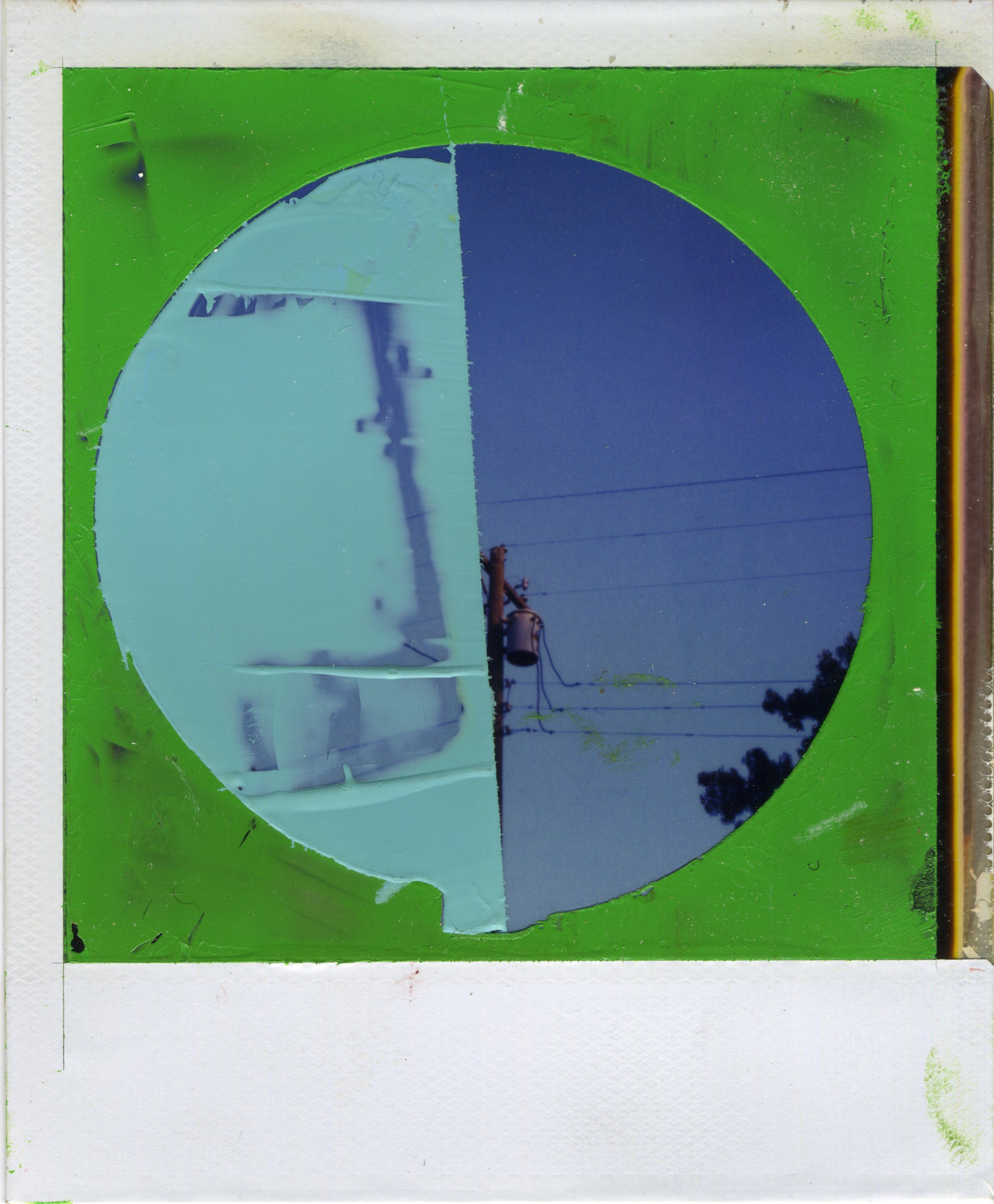 "INTERSECTION (ECLIPSE)   oil on sx-70 Polaroid | 3.25"" x 4.25"" 