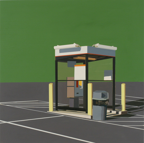 "GREEN EARTH: TICKET BOOTH   oil on panel | 24"" x 24"" 2012"