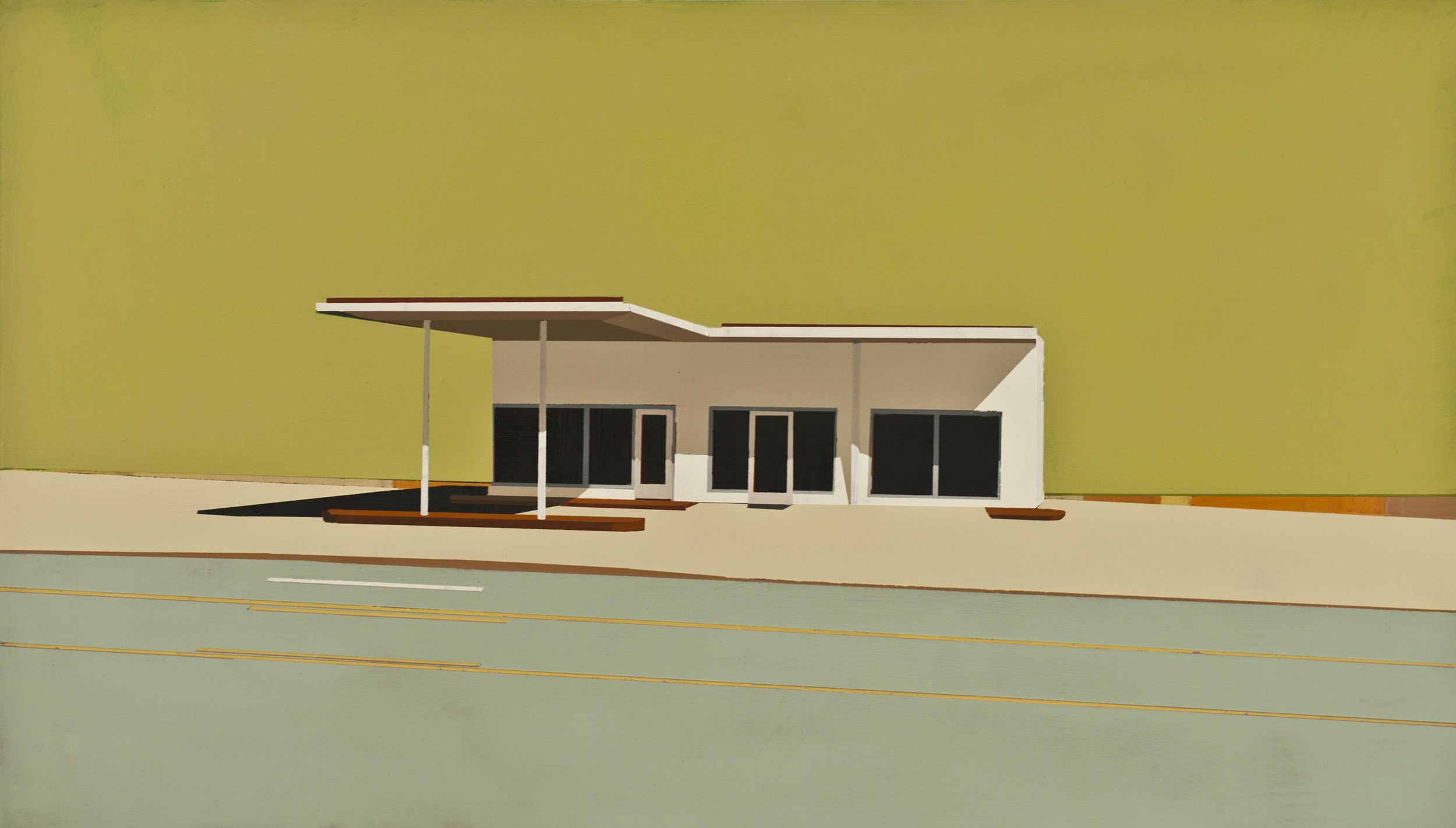 "SUNDAY TIMES GAS STATION IN SPINEY SEA URCHIN      oil on panel | 12"" x 21""   2012"