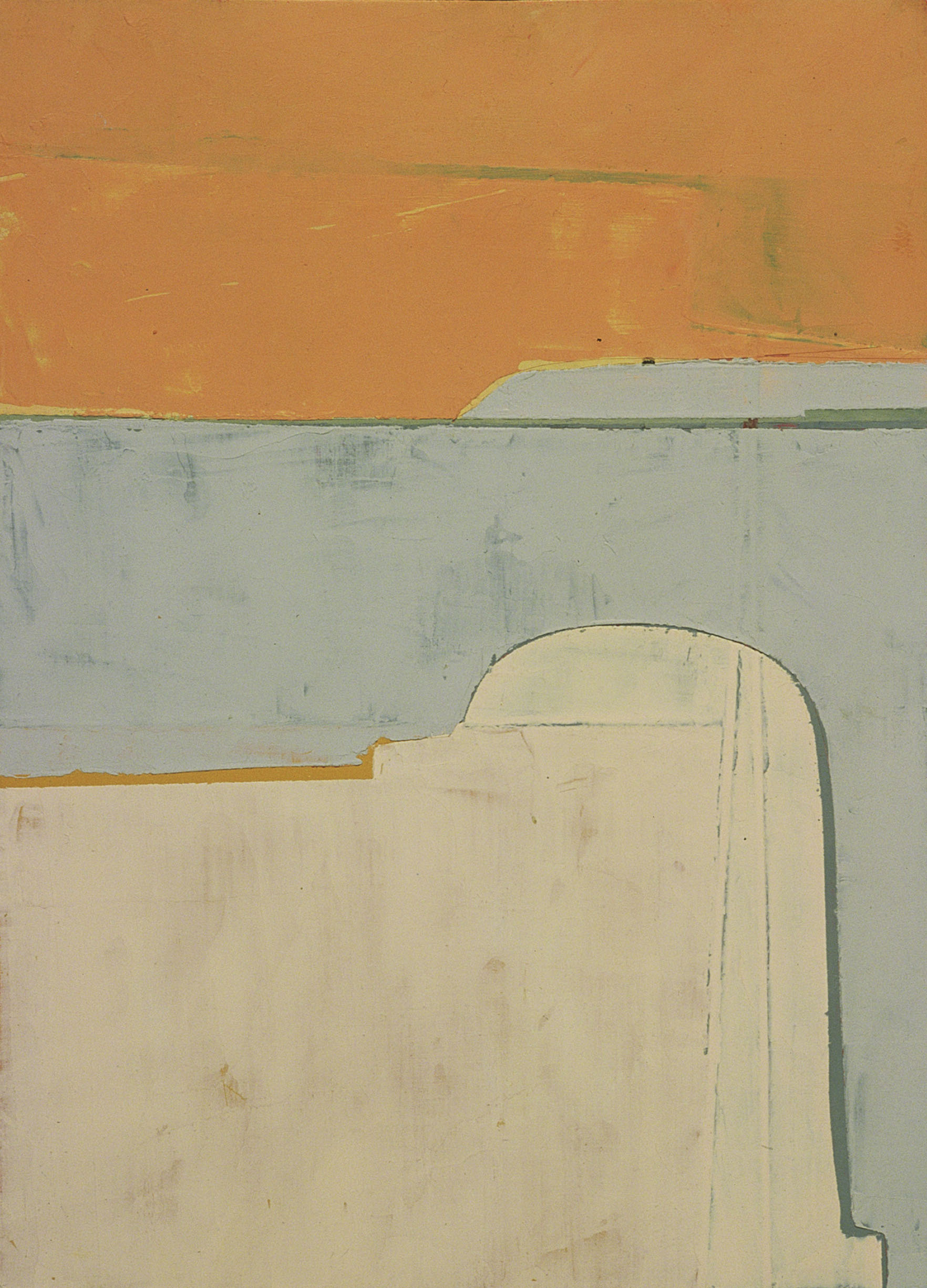 "SUBTLE CARTOGRAPHY (DIEBENKORN POSTCARD)     oil on paper | 4.5"" x 6"" 