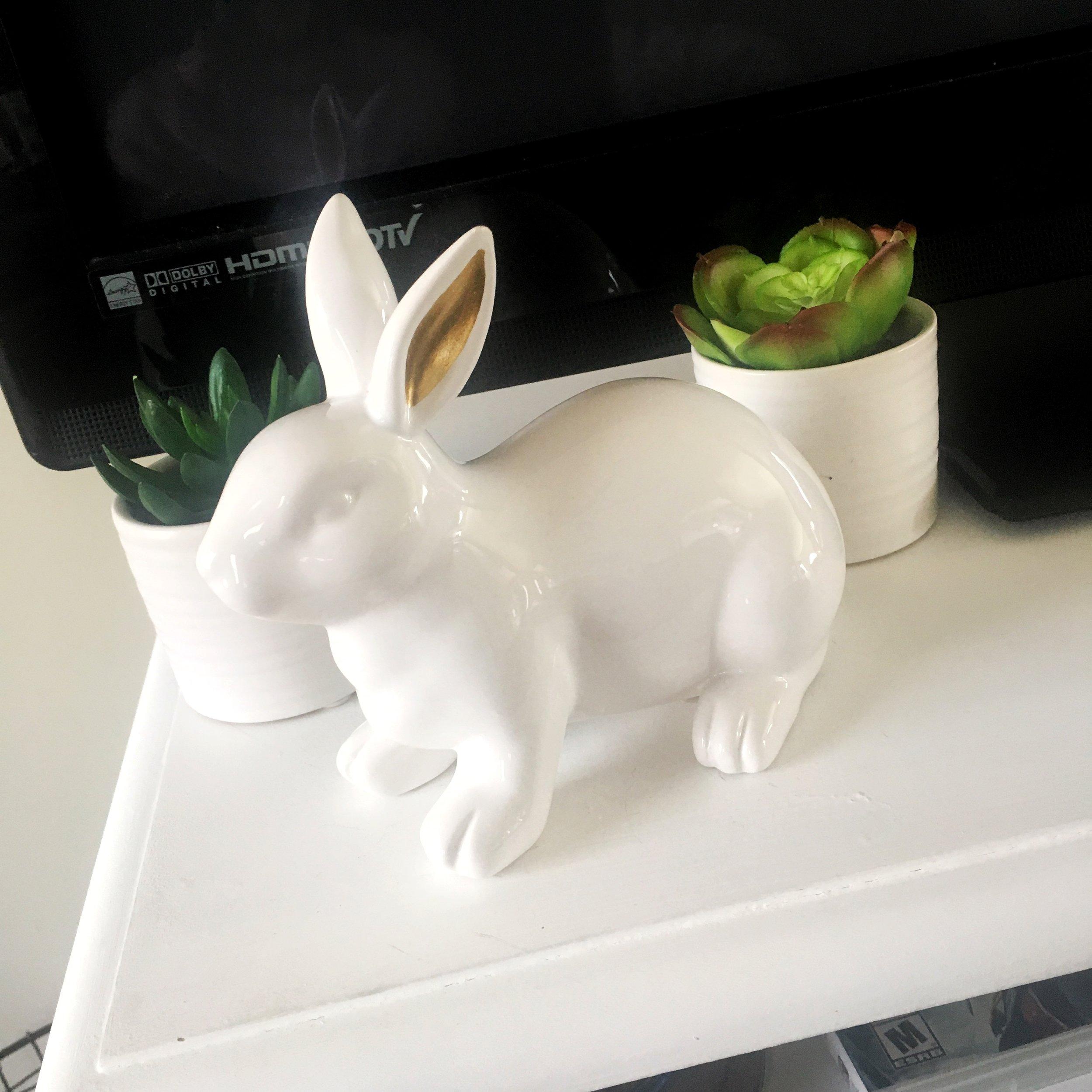 Ceramic Bunny - $3 -- Faux Planted Succulent Plant, $3