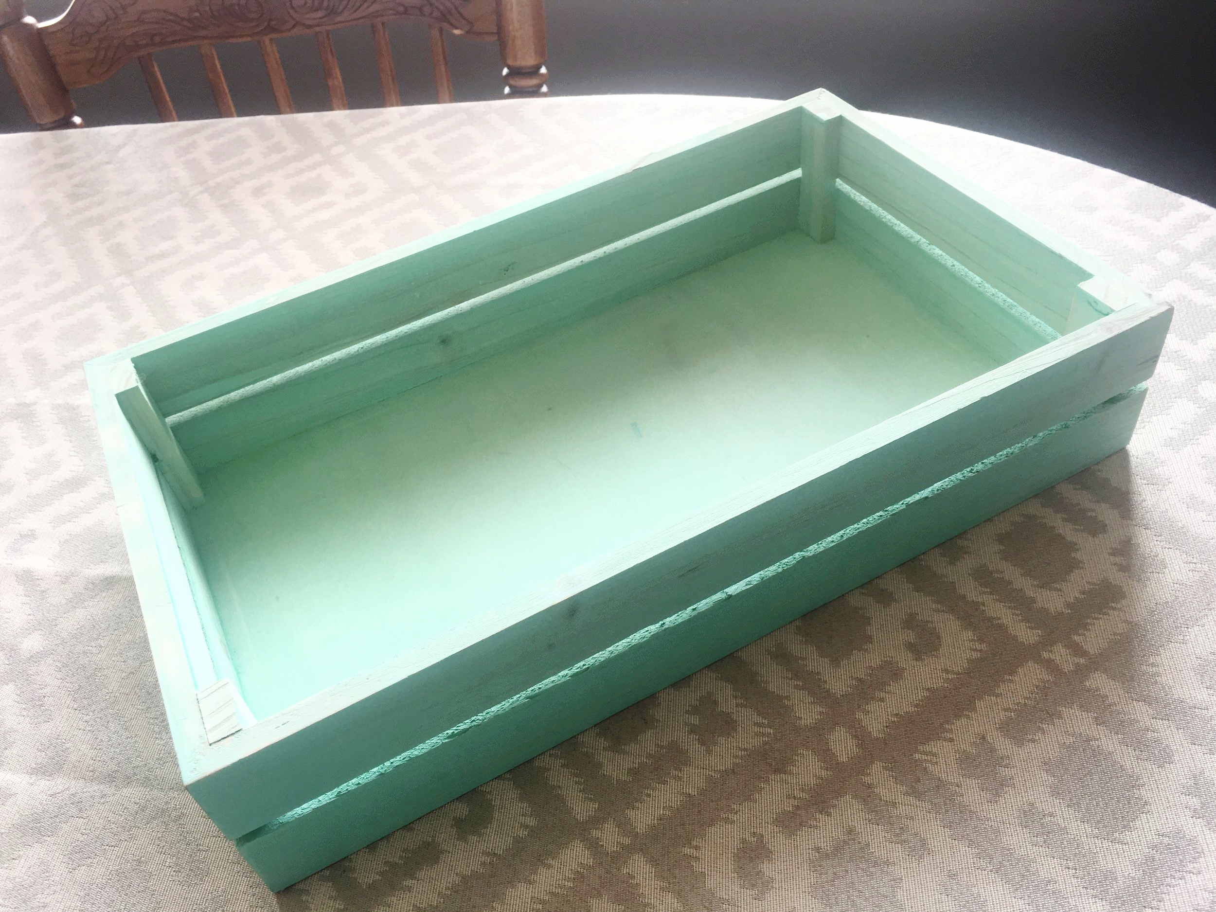 Turquoise Wooden Tray, $3