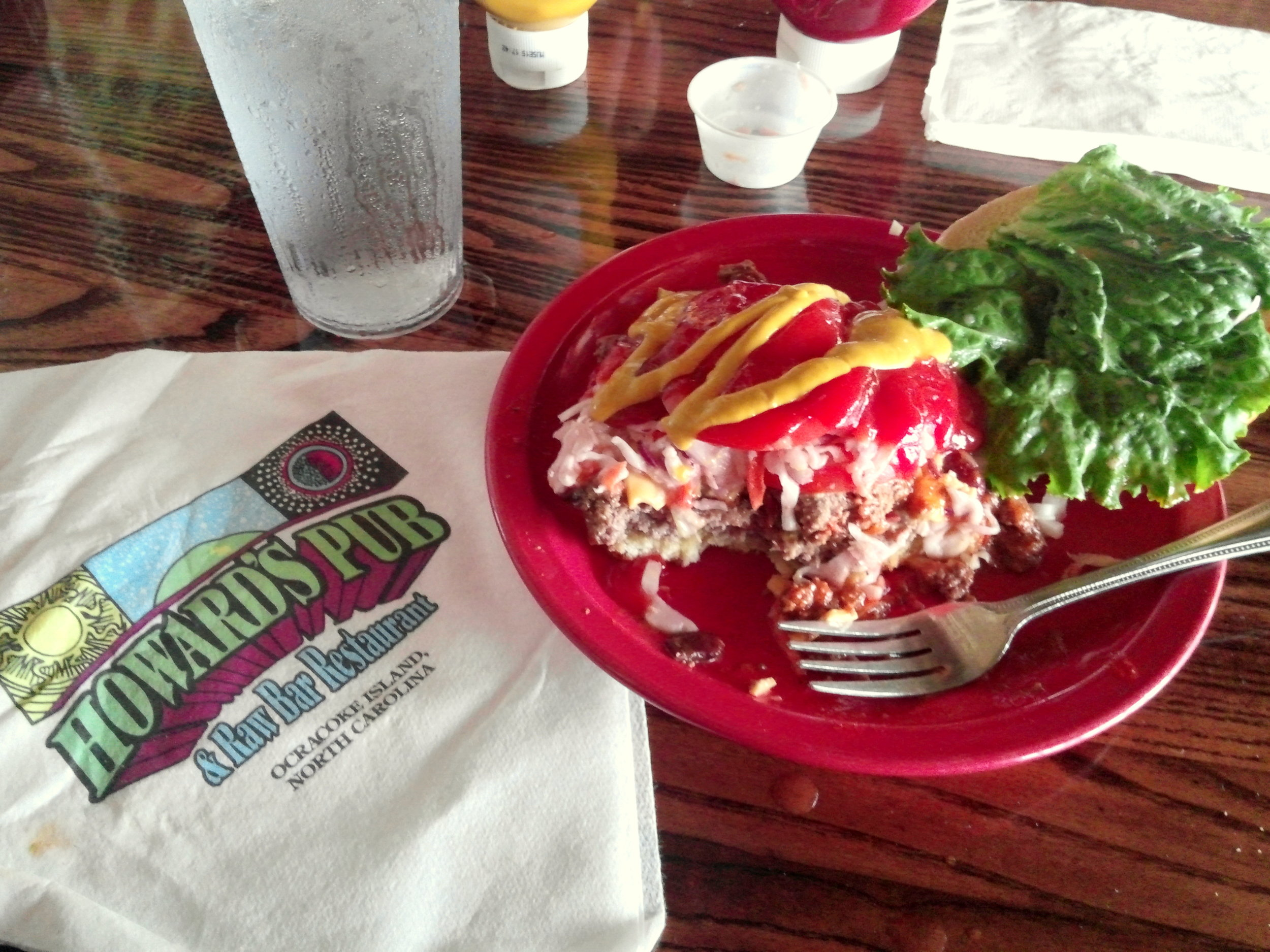 Burger from Howard's Pub on Ocracoke Island