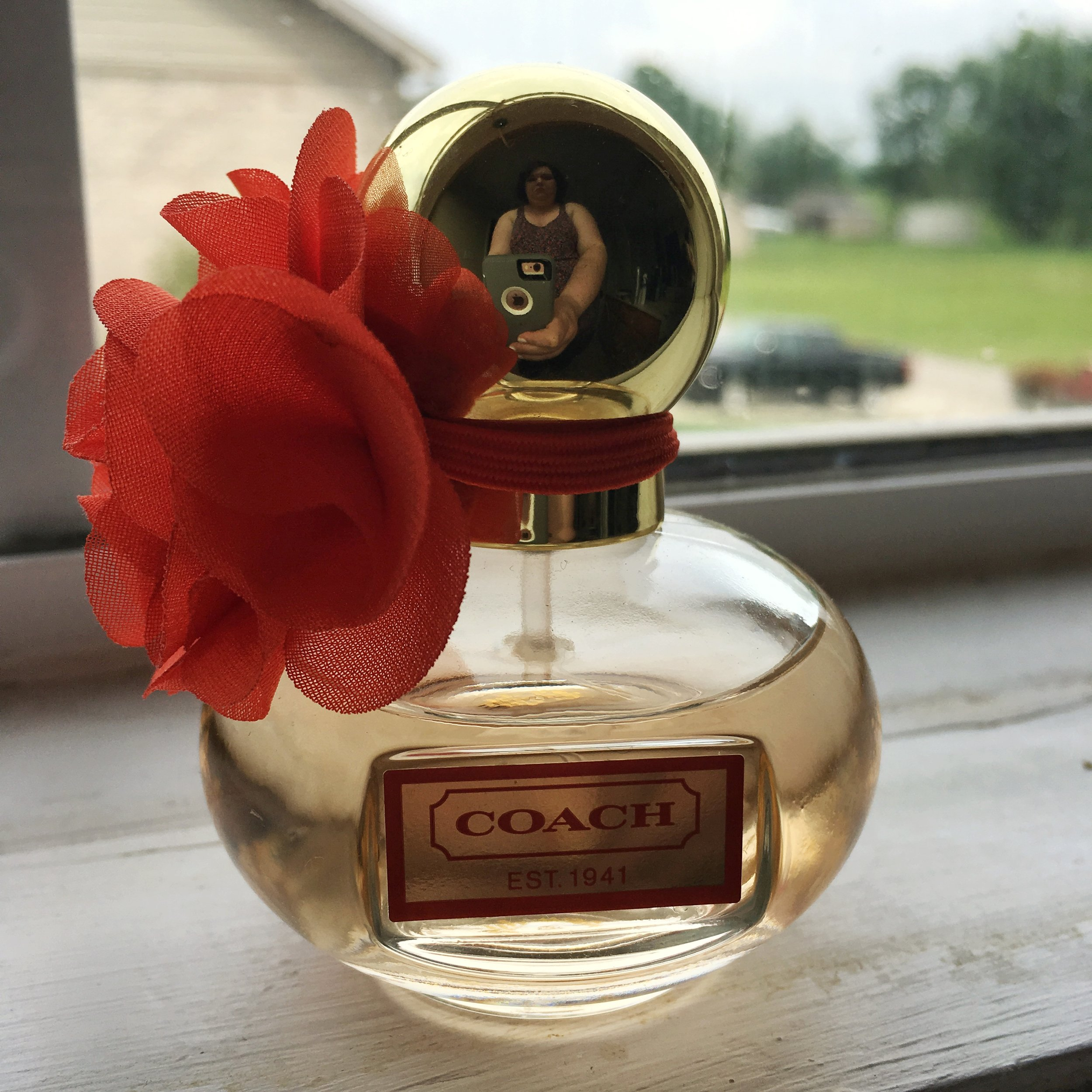 Coach Poppy Perfume. And yes, that's me in the lid, taking a picture in my lounge clothing. I will never be a photographer at this rate :)
