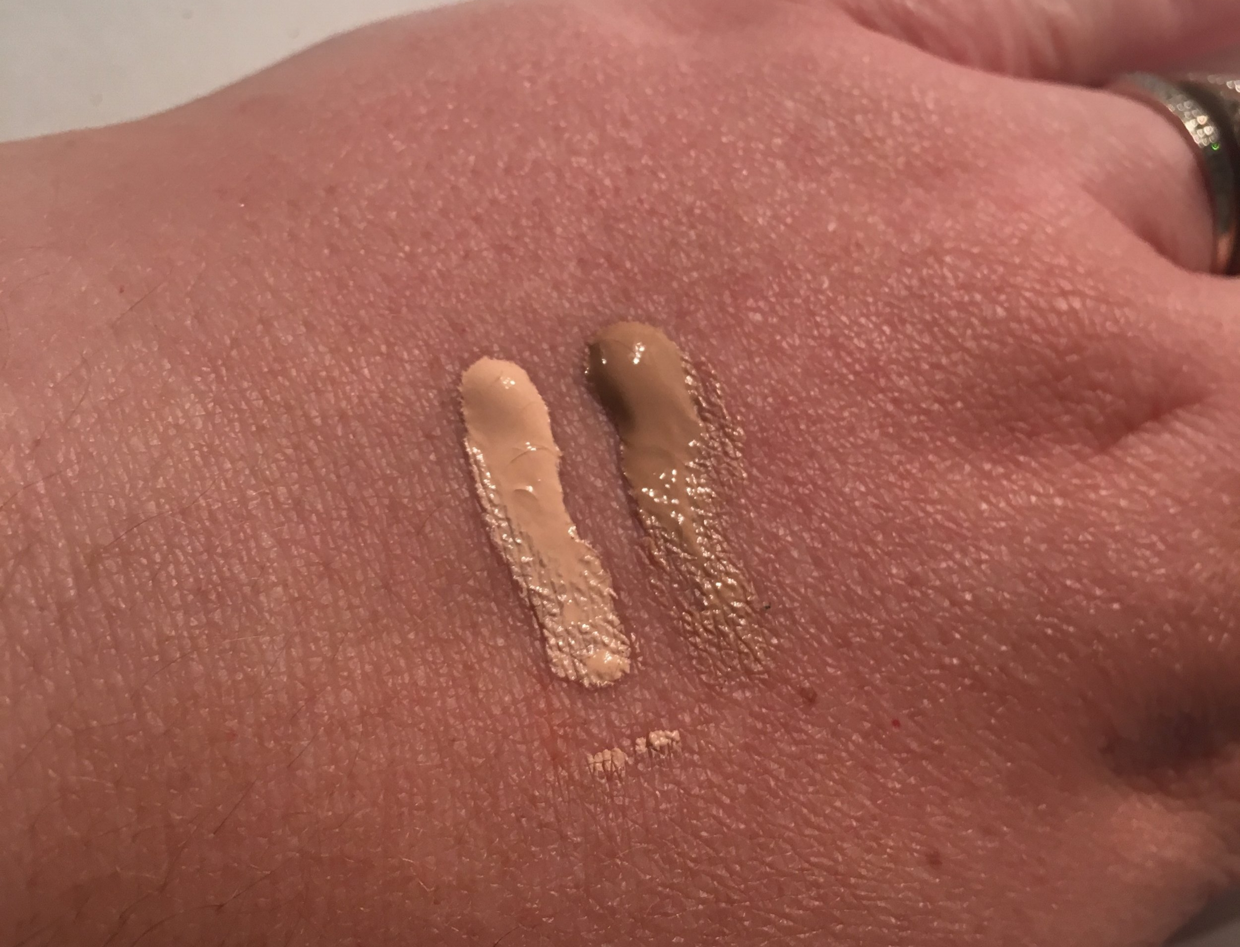 Left: Too Faced Born This Way foundation in Snow -- Right:IT Cosmetics CC Cream in Light