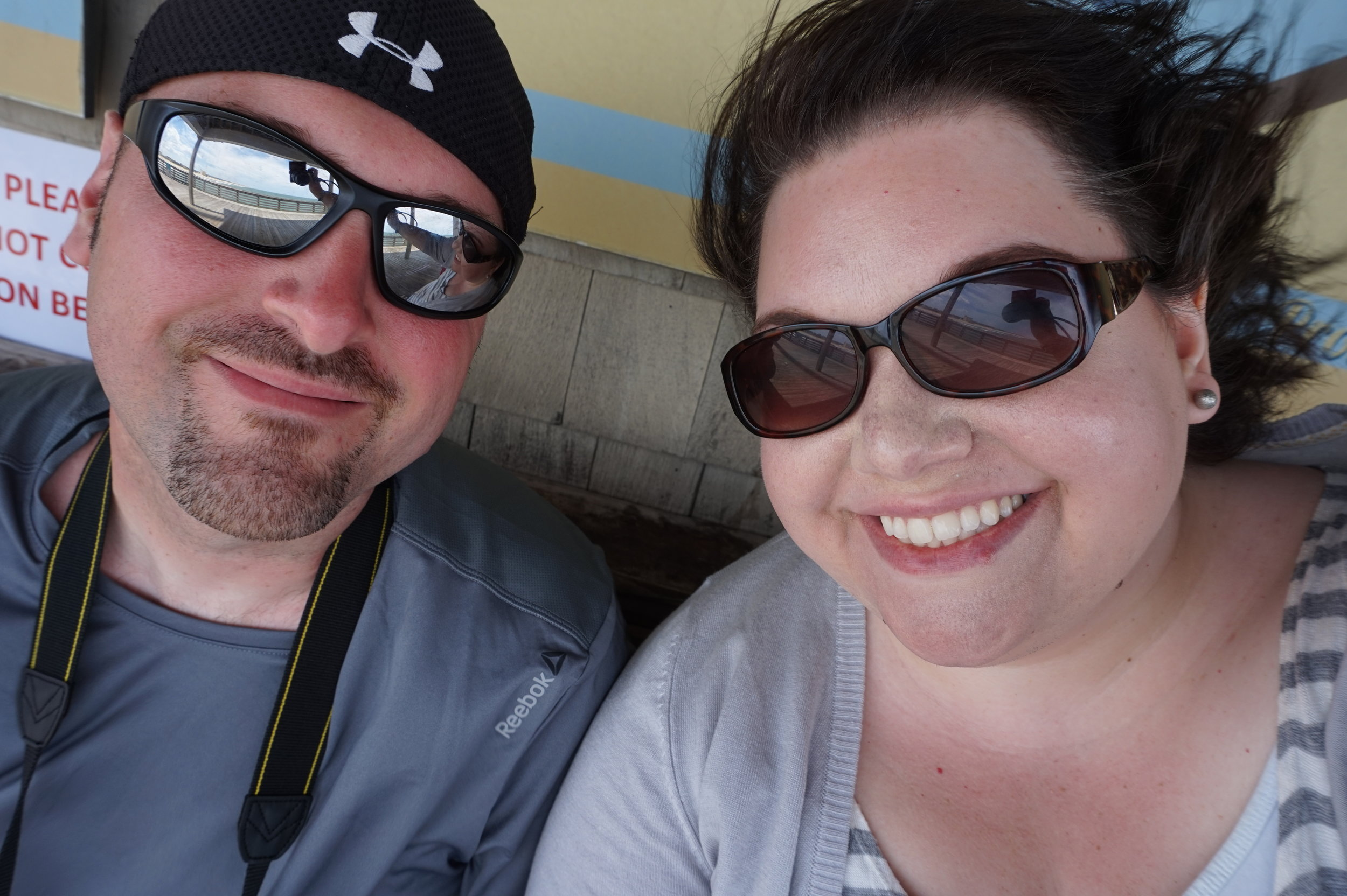 Travis and I in at the pier. The wind was REAL!