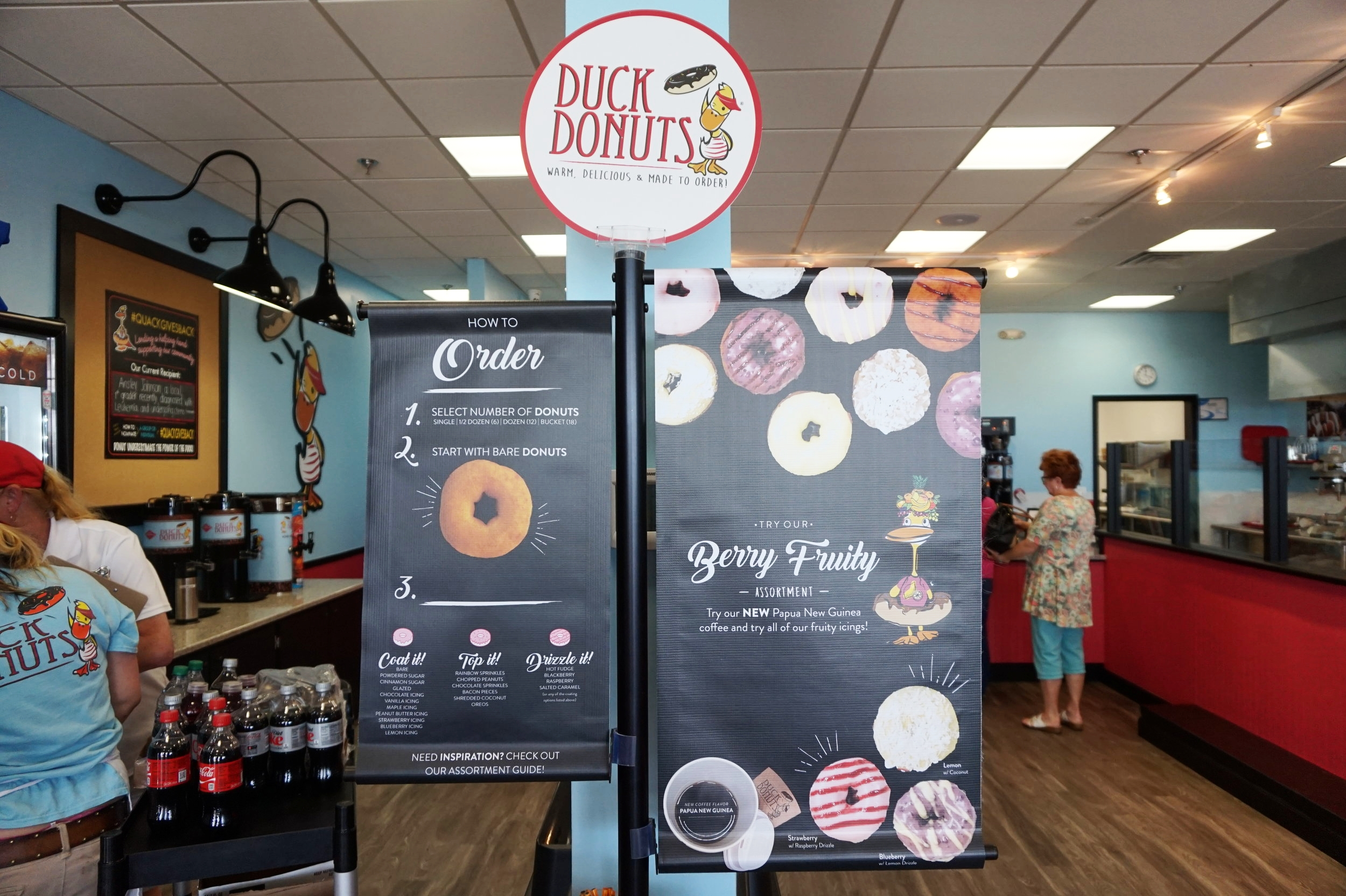 Duck  Donuts information on how to order and what is available at the front of the store. Ordering is in the back!