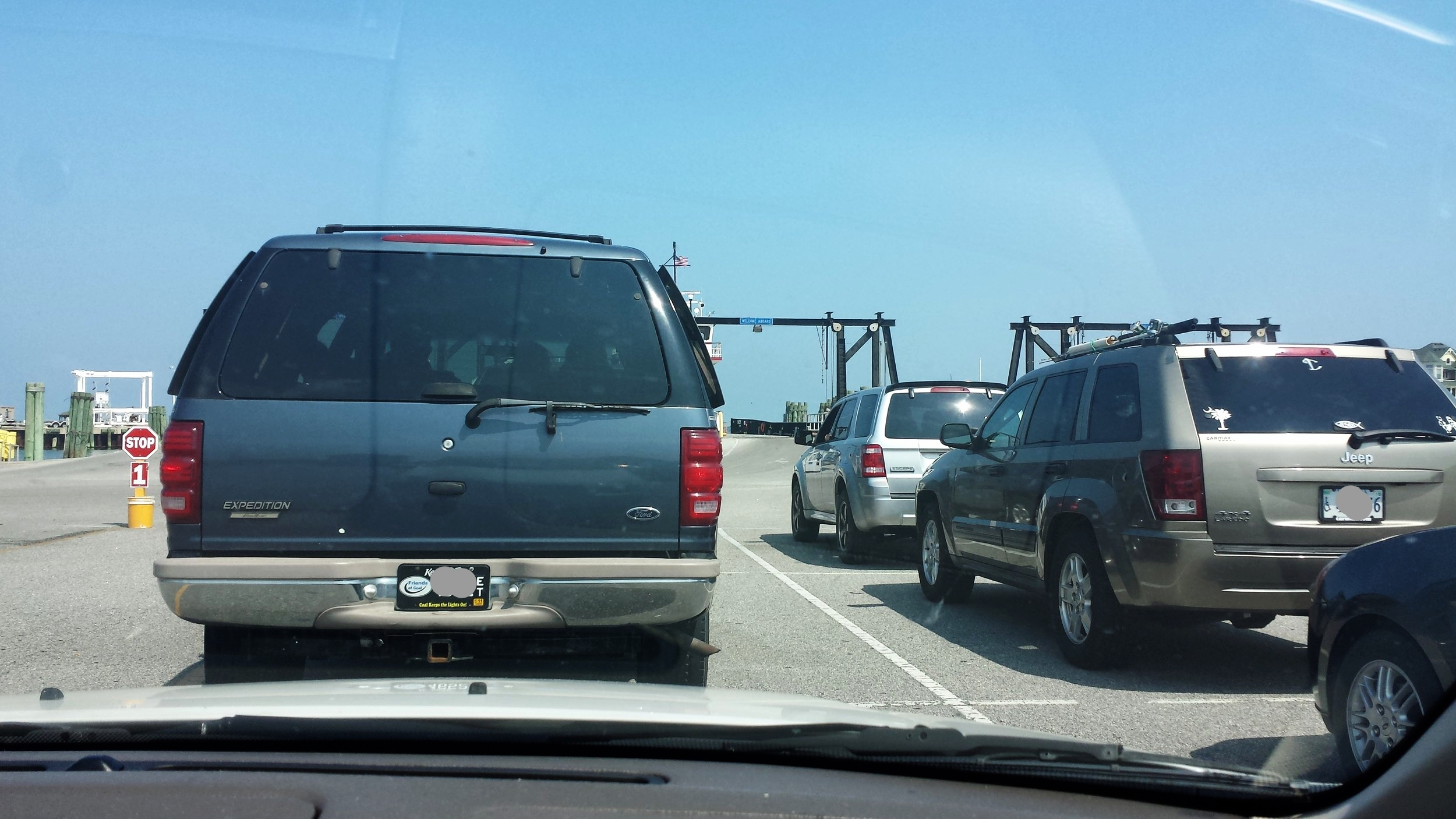 One of the MANY times we sat in line for the ferry!
