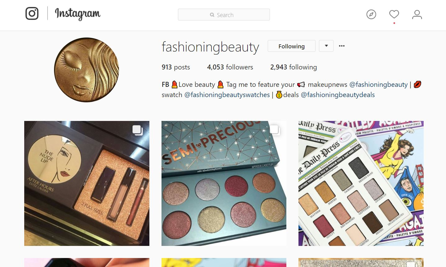 fashioning beauty instagram account