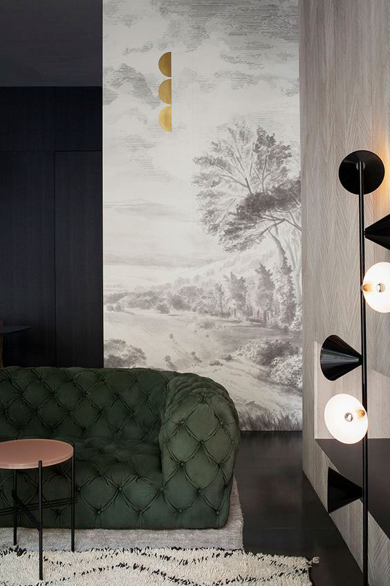 I'd long been inspired by this image from the Italian design duo  Studiopepe  via  The Design Chaser  blog. I love the traditional mural with the modern fixtures and pops of black.  You can see the empty room here and that the color of the cabinets is very orangey.