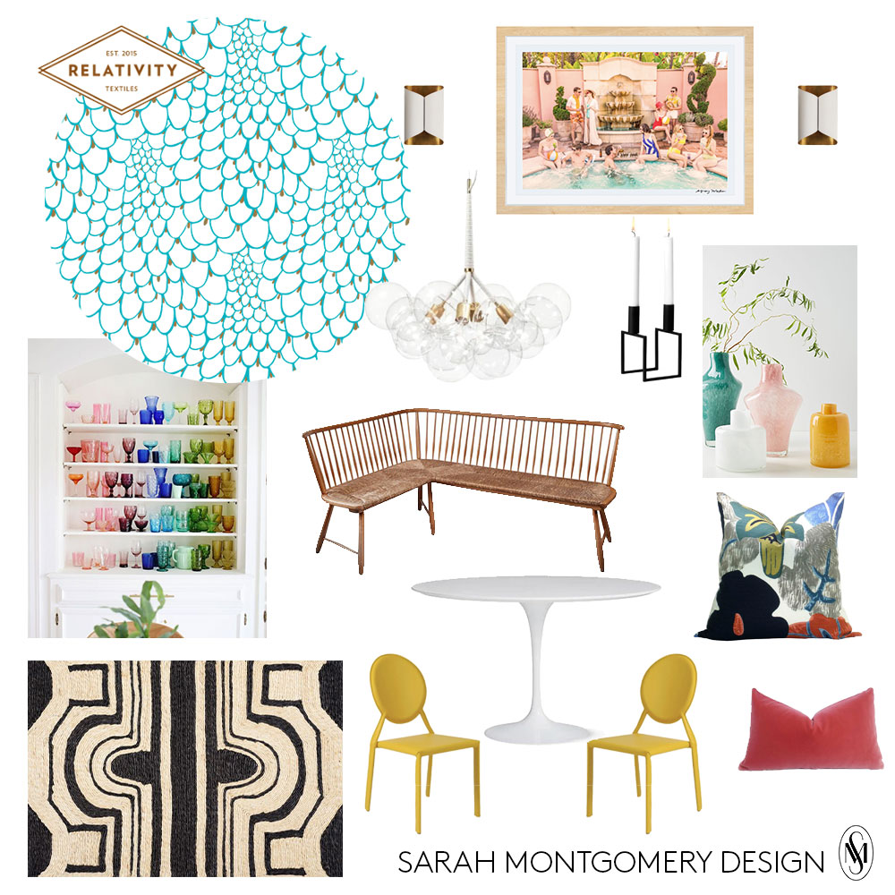 wallpaper  I  sconces  I  artwork  I  chandelier  I bench (vintage) I  table  I  chairs  I  rug  I  pillow print  I  pillow solid  I  colored glass collection- A Beautiful Mess