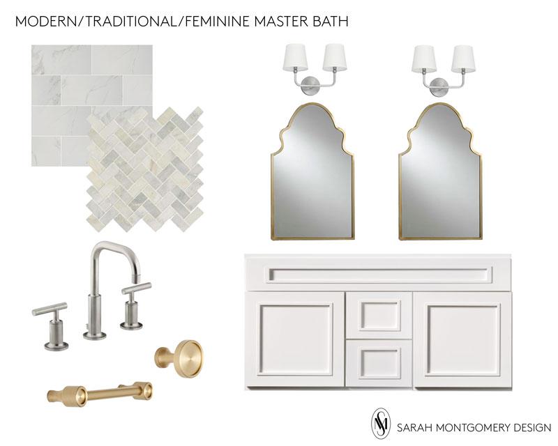 shower tile  /  floor tile  /  faucet  /  mirrors  /  vanity  /  sconces  /  hardware